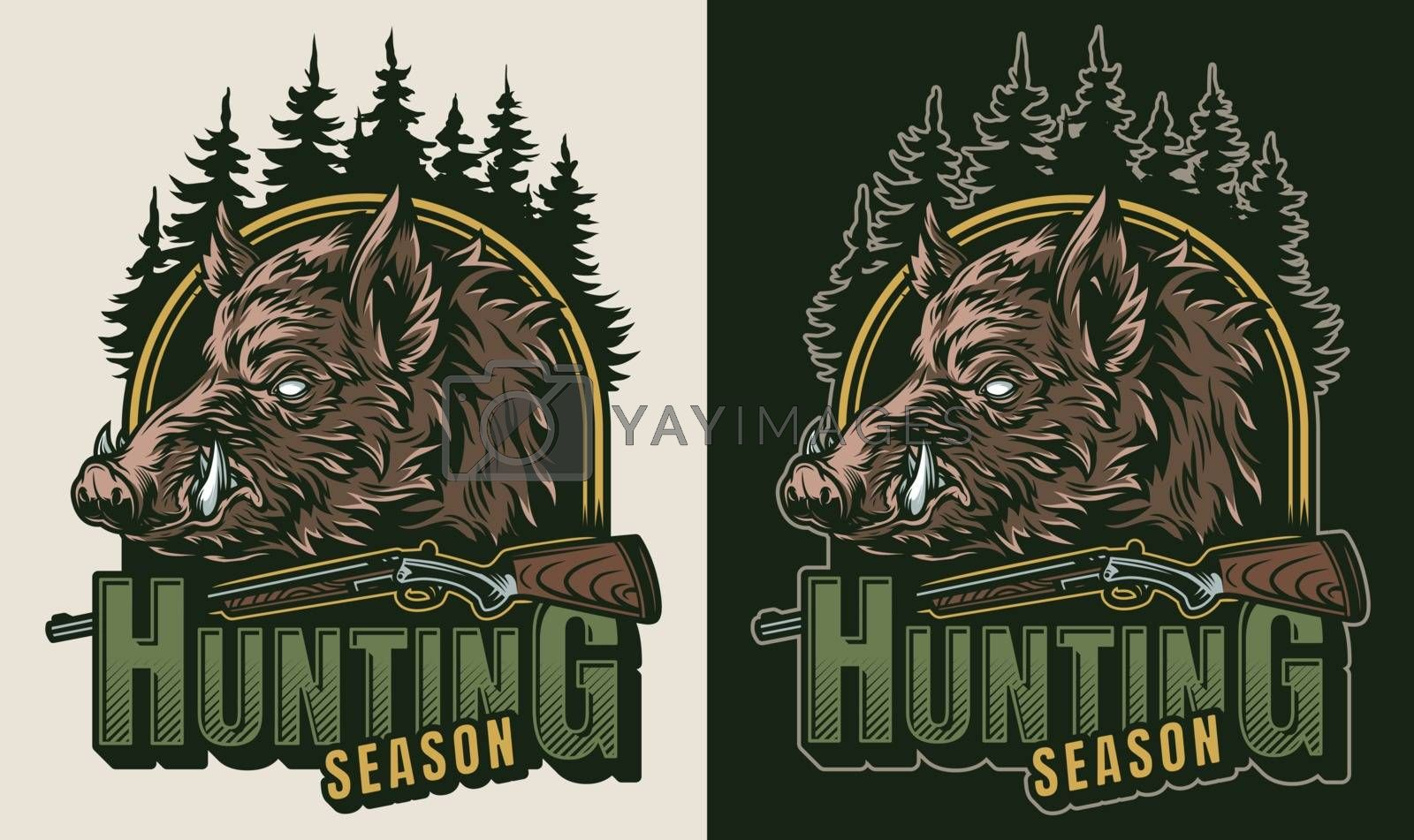 Vintage hunting colorful logo with weapon trees and serious wild boar head isolated vector illustration