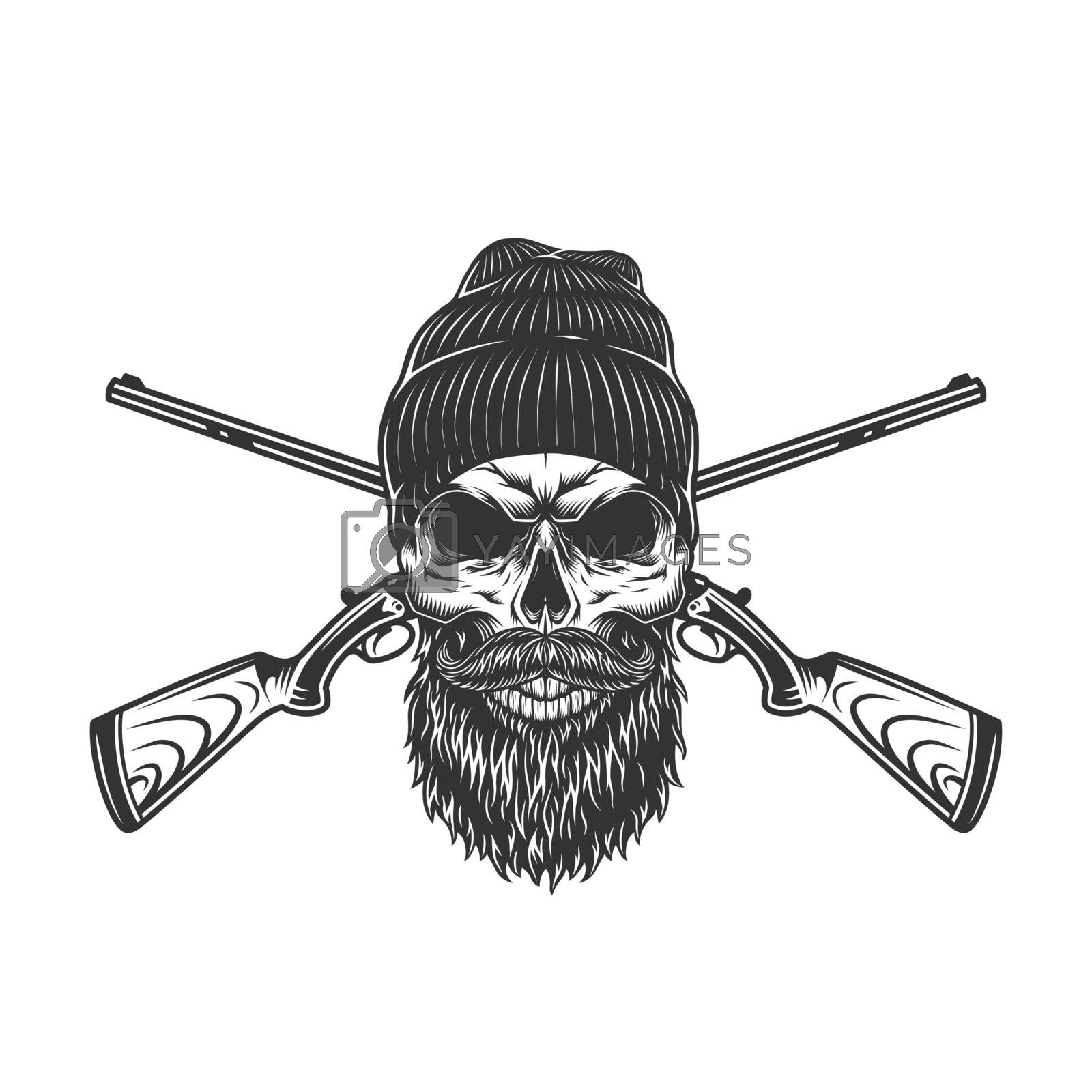 Vintage hunting concept with bearded and mustached hunter skull in beanie hat and crossed guns in monochrome style isolated vector illustration