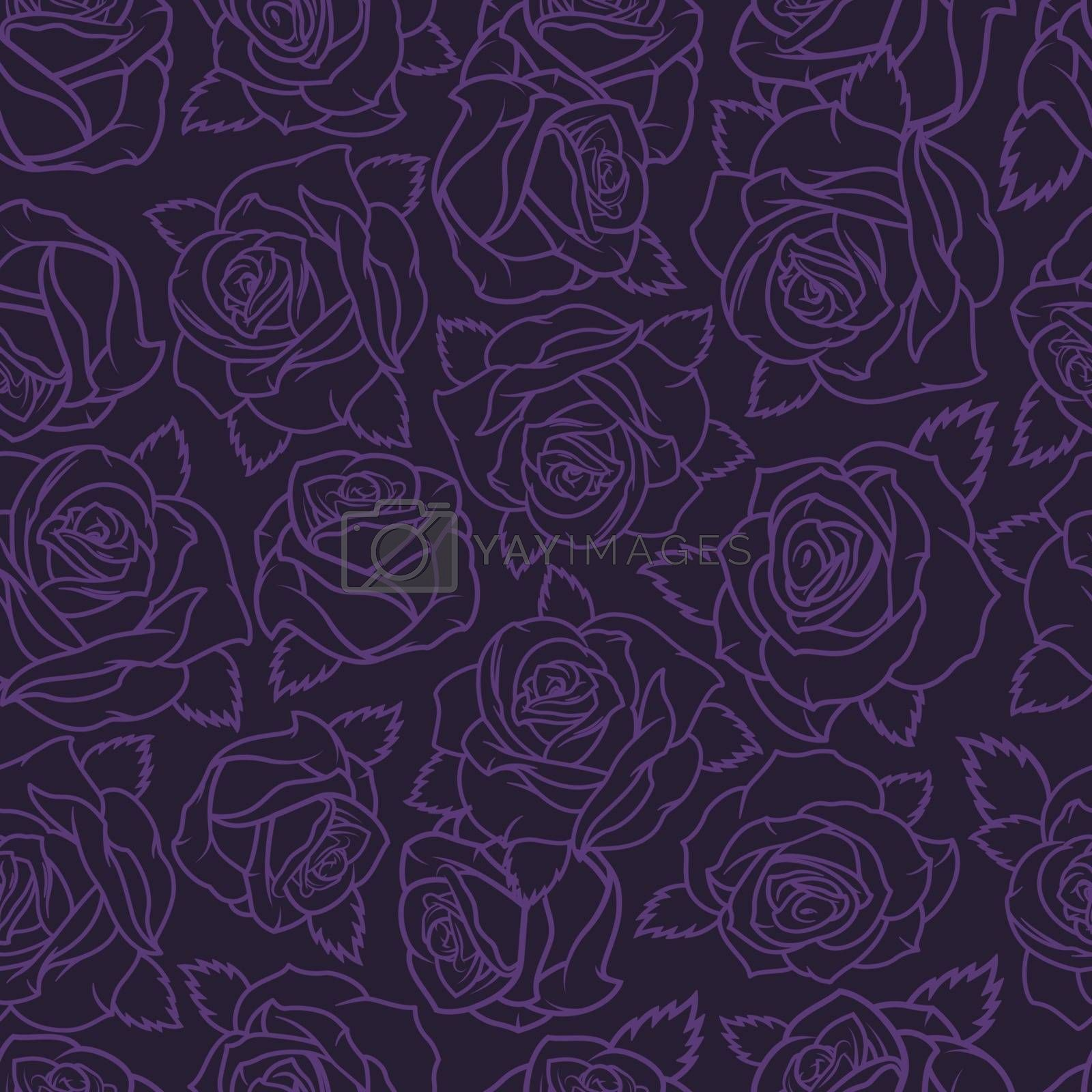 Vintage floral natural seamless pattern with purple roses silhouettes on dark background vector illustration