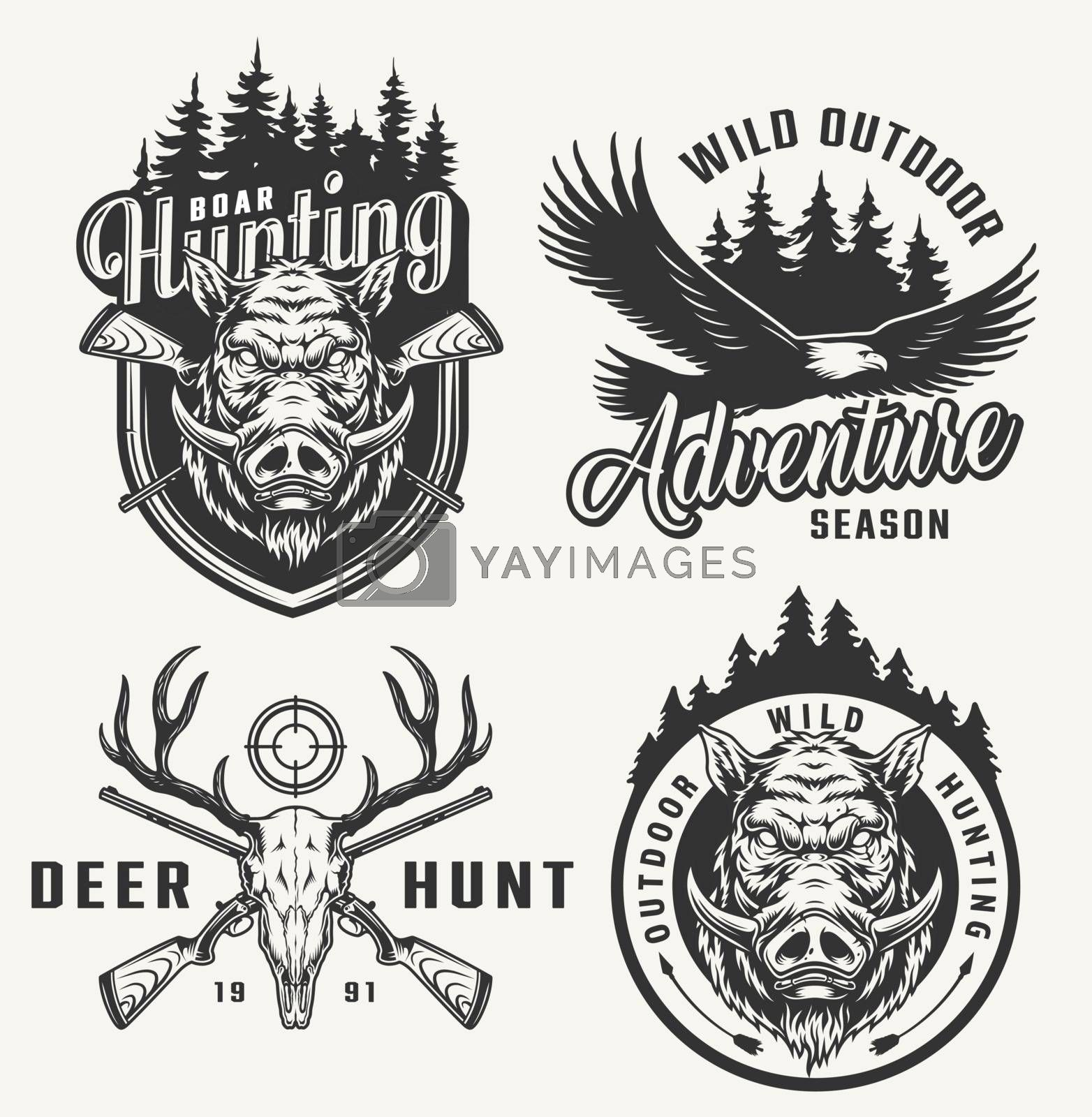 Vintage hunting club prints with boar head deer skull flying eagle crossed guns forest silhouette on light background isolated vector illustration
