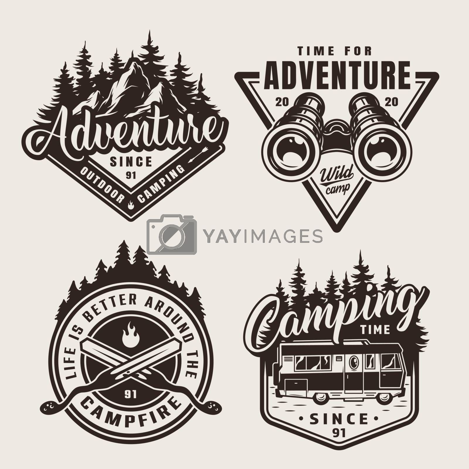 Vintage monochrome summer adventure emblems with mountains forest binoculars crossed skewers motorhome isolated vector illustration