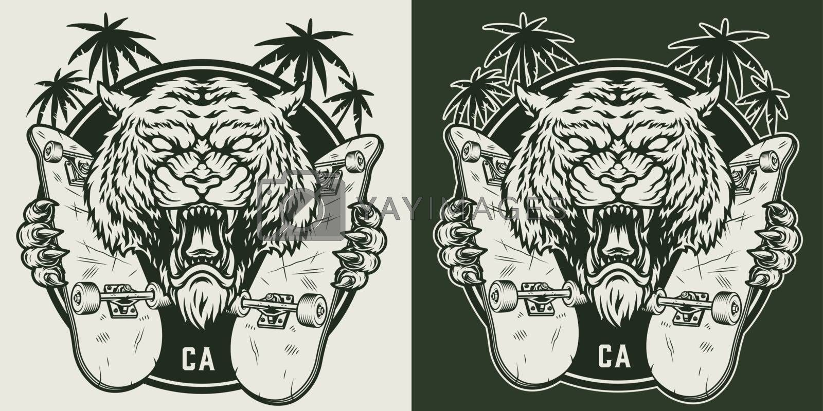 Vintage monochrome skateboarding round emblem with angry tiger holding skateboards isolated vector illustration