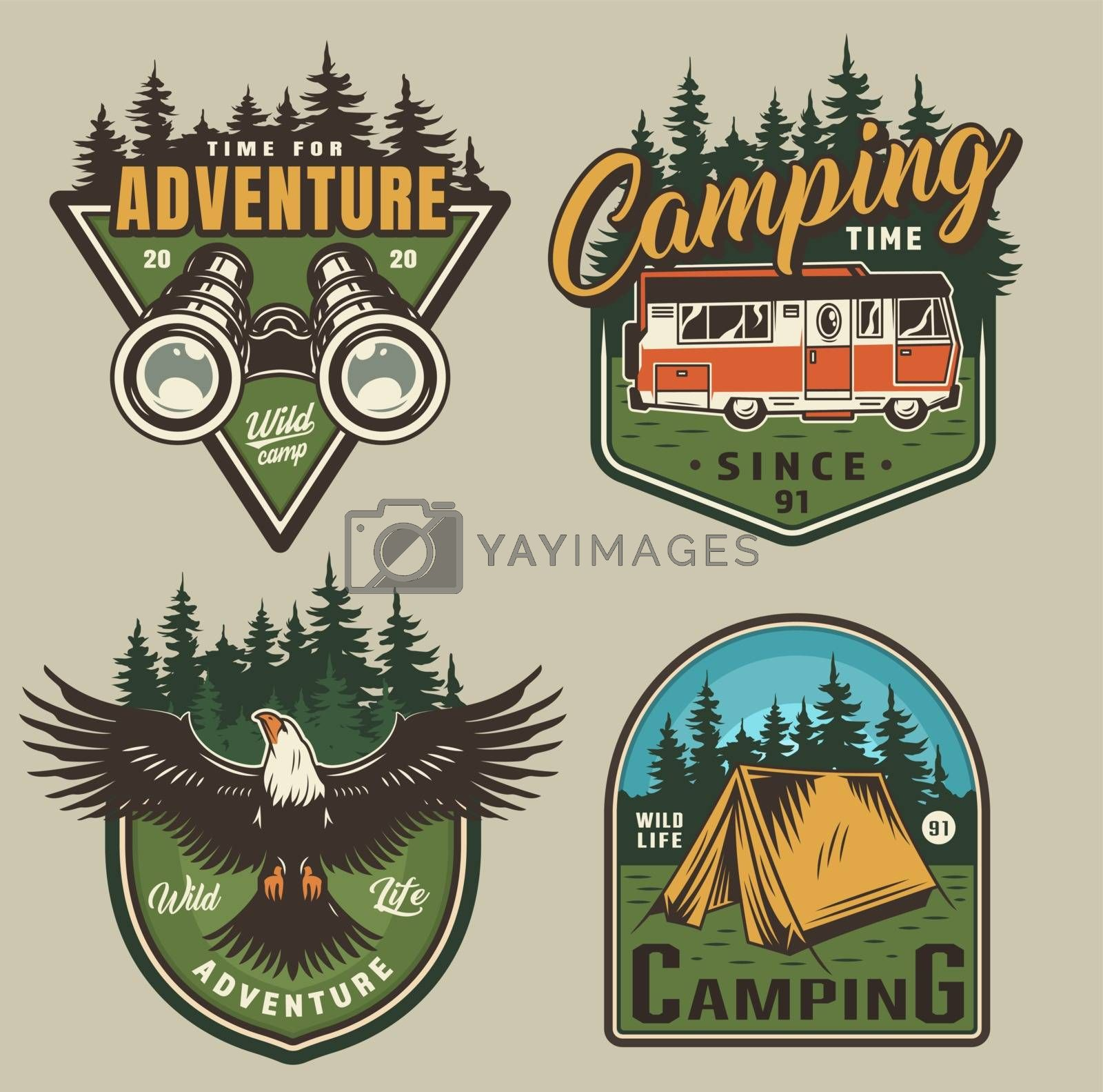Vintage outdoor recreation colorful logos with binoculars motorhome eagle tent and forest landscapes isolated vector illustration