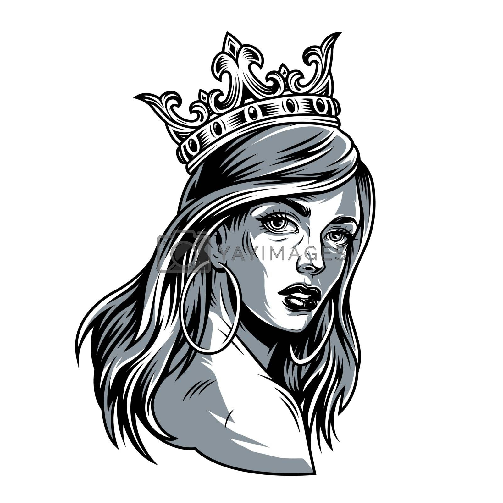 Vintage pretty woman in crown with long hair and round earrings isolated vector illustration