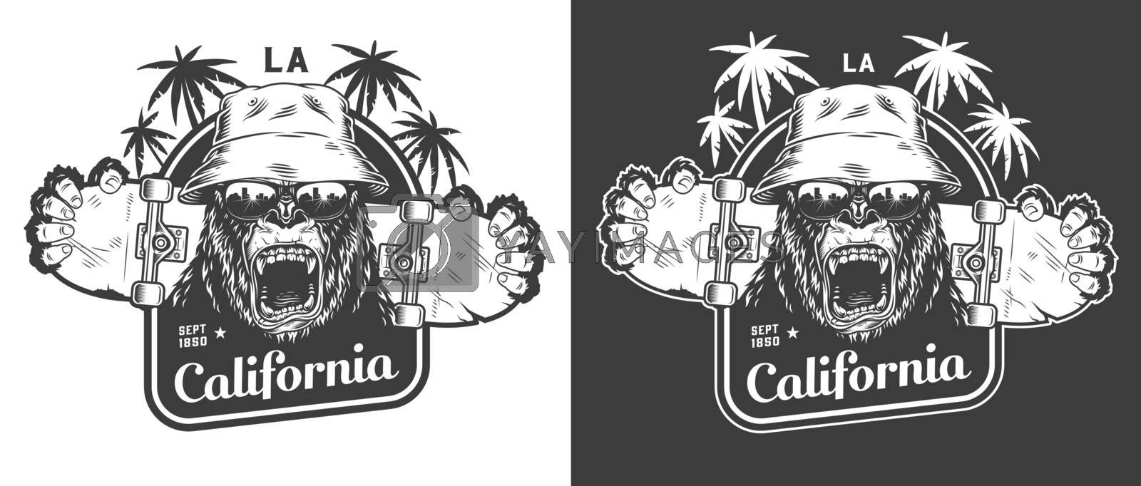 Vintage skateboarding monochrome label with angry gorilla in panama hat and sunglasses cracked skateboard isolated vector illustration