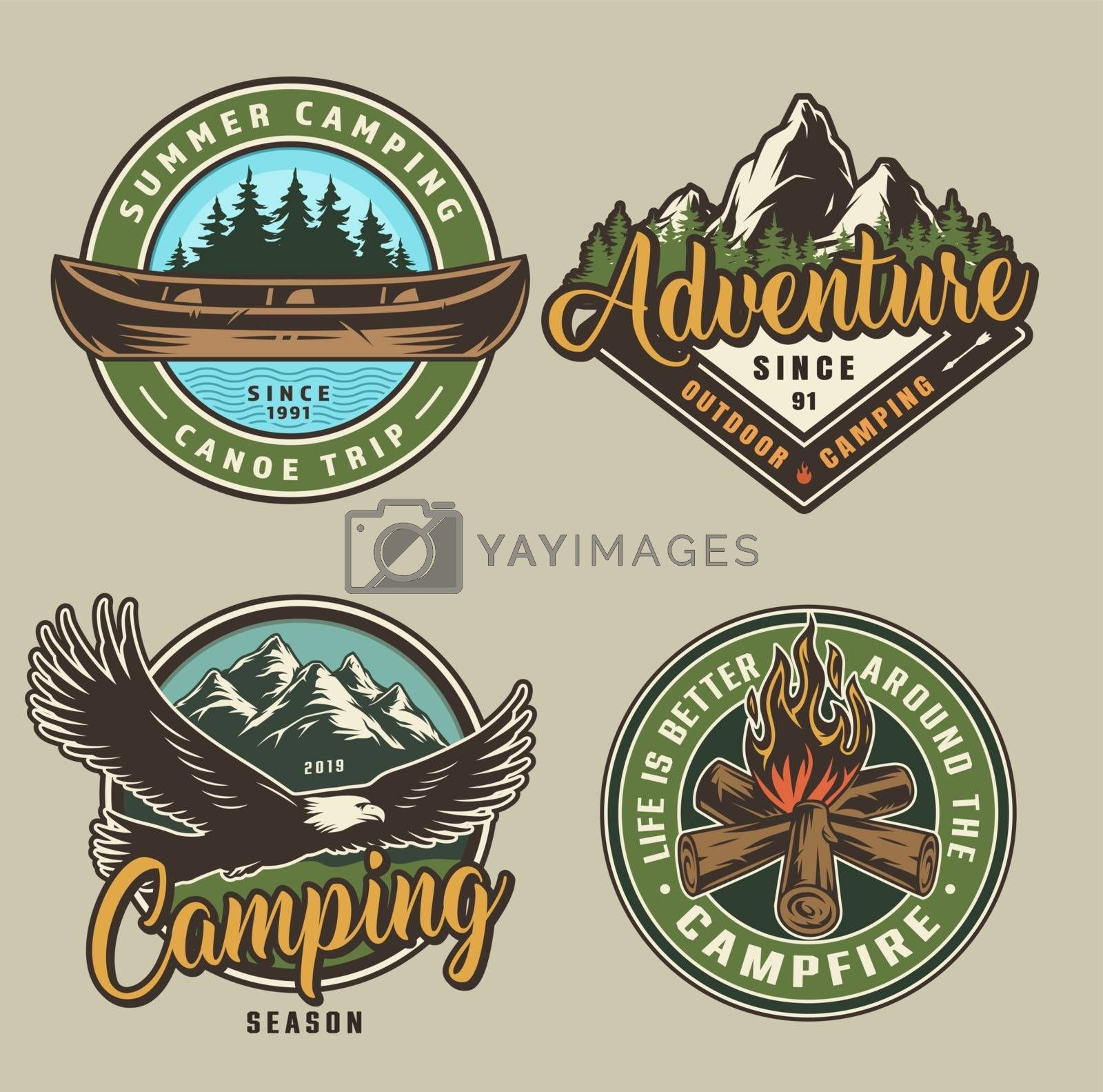 Vintage summer camping colorful prints with canoe flying eagle campfire forest and mountains scenery isolated vector illustration