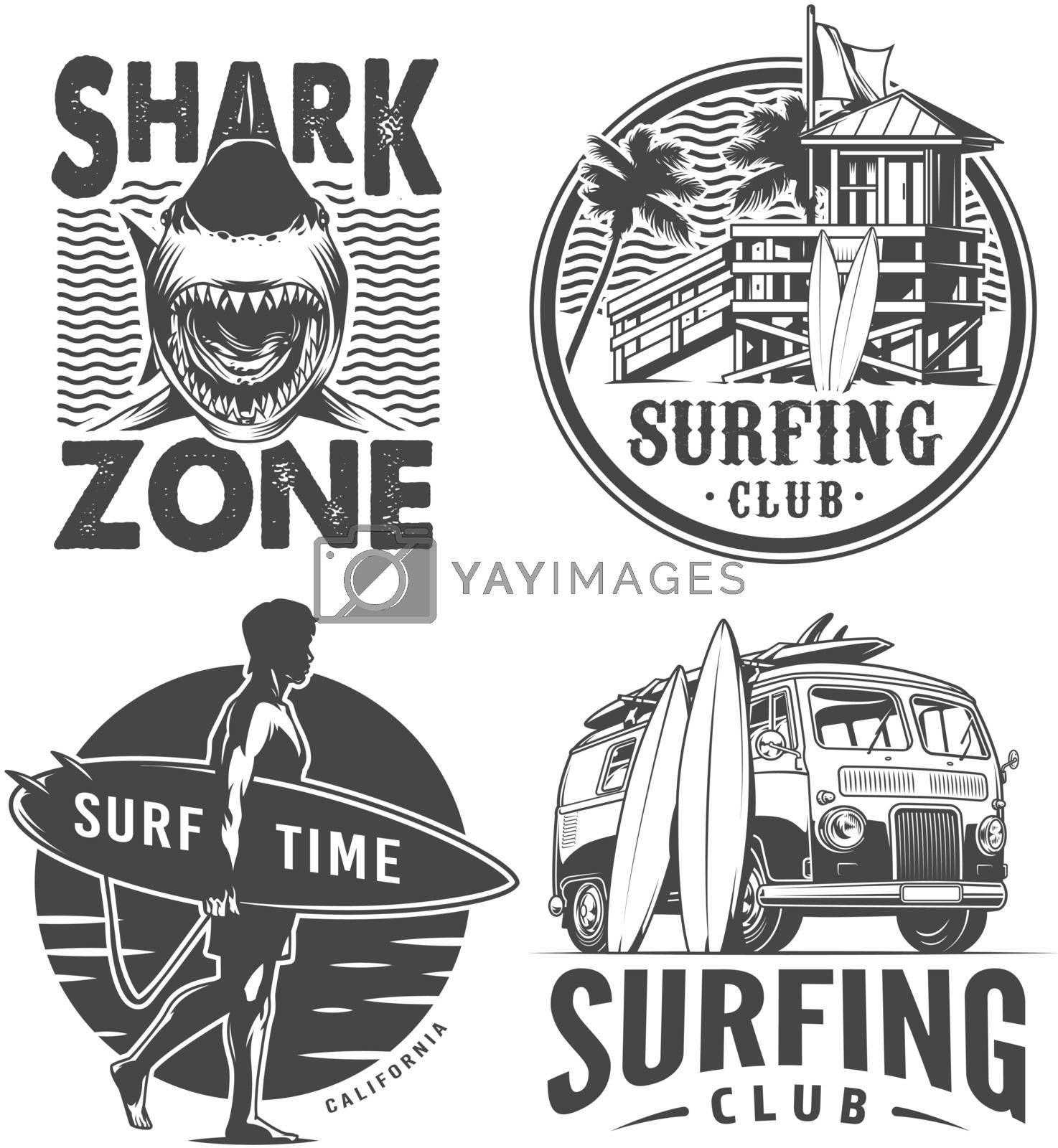 Vintage surf logos monochrome set with shark house of surfing club travel van surfer holding surfboard isolated vector illustration