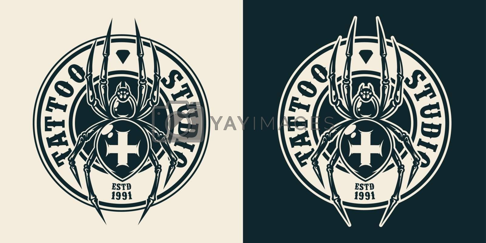 Vintage tattoo salon round logo with spooky cross spider in monochrome style isolated vector illustration