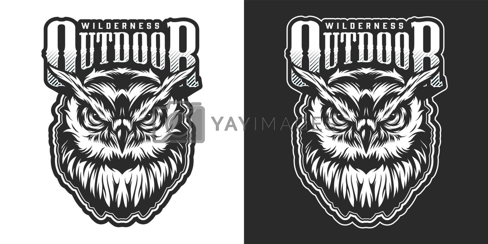Vintage wild animal emblem with aggressive owl and inscription in monochrome style isolated vector illustration