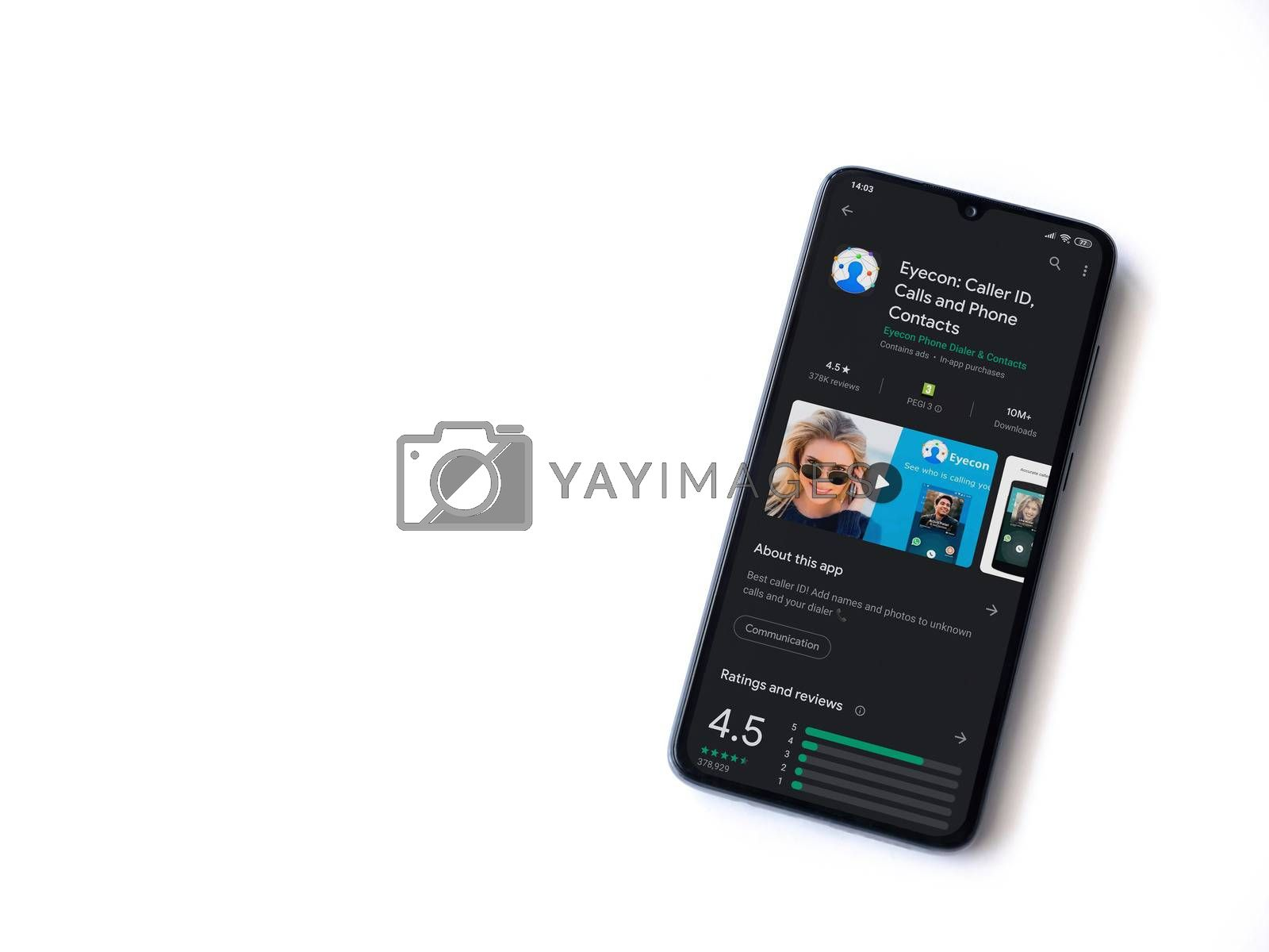 Lod, Israel - July 8, 2020: Eyecon app play store page on the display of a black mobile smartphone isolated on white background. Top view flat lay with copy space.
