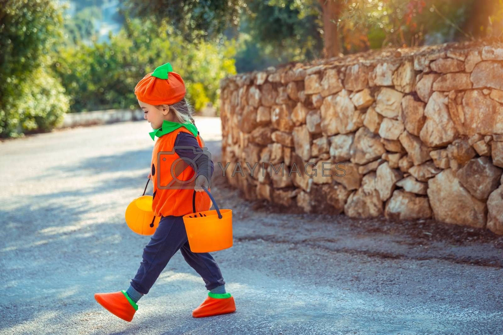 Happy Little Baby Dressed in Pumpkin Character Outfit On The Way to Collect Candies from the Neighbors. Trick or Treat. Kids Enjoying Happy Autumn Holiday.