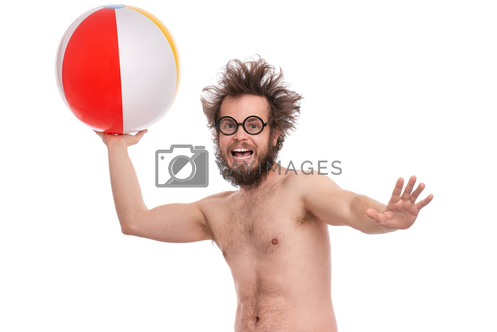 Crazy bearded Man with funny Haircut in eye Glasses, ready for fun at sunny beach. Happy and silly tourist, isolated on white background. Cheerful naked man holding Sea Ball.