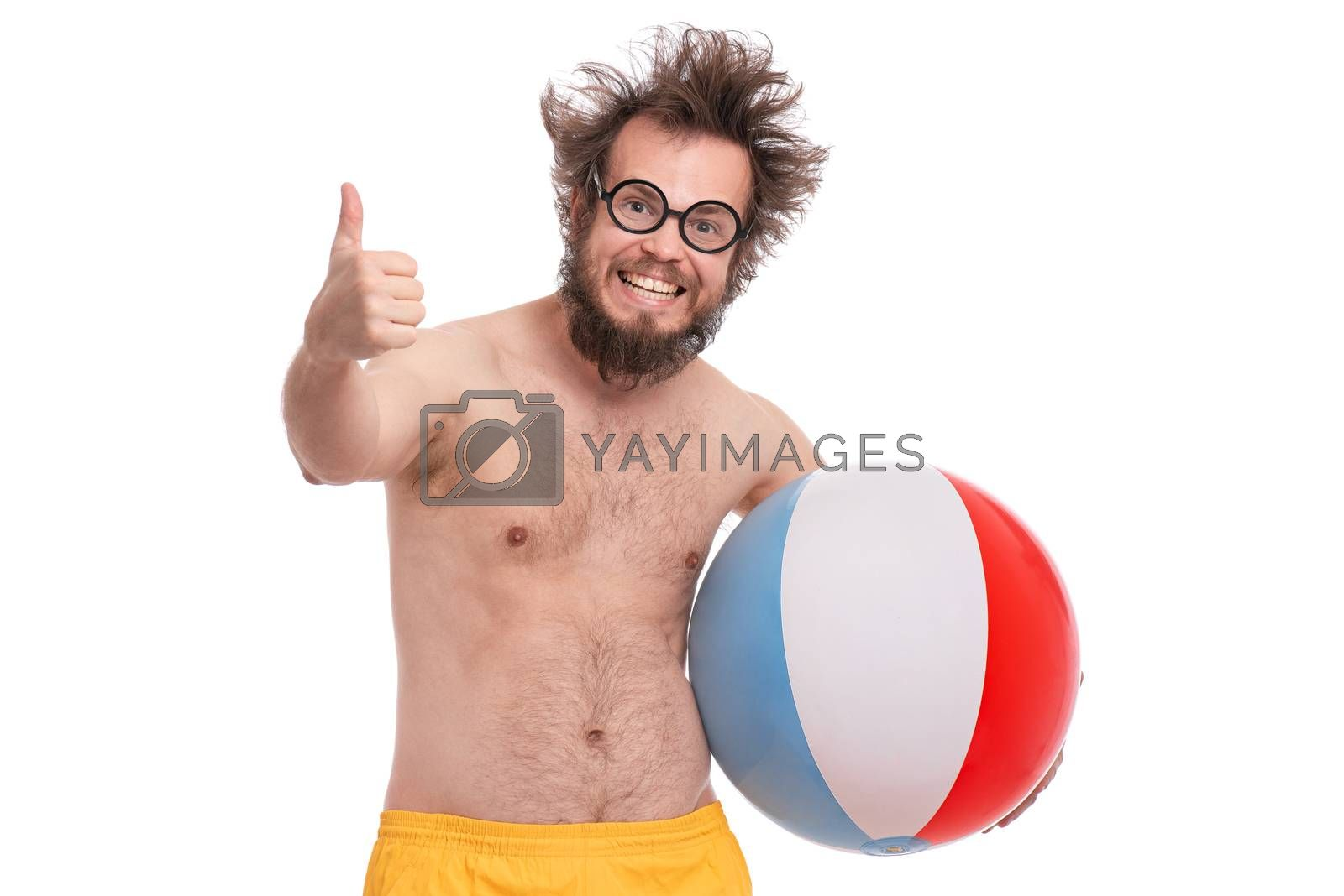 Crazy bearded Man with funny Haircut in eye Glasses making Thumbs up Gesture. Happy and silly tourist, isolated on white background. Cheerful naked man holding Sea Ball.