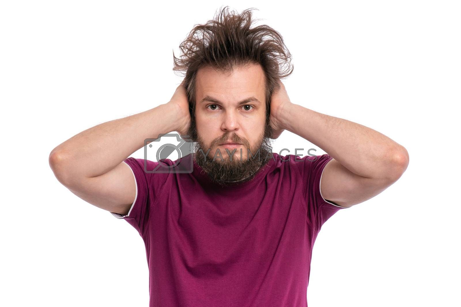 I do not see, do not speak, can not hear anything - portrait of Crazy bearded Man. Guy with funny Haircut isolated on white background.