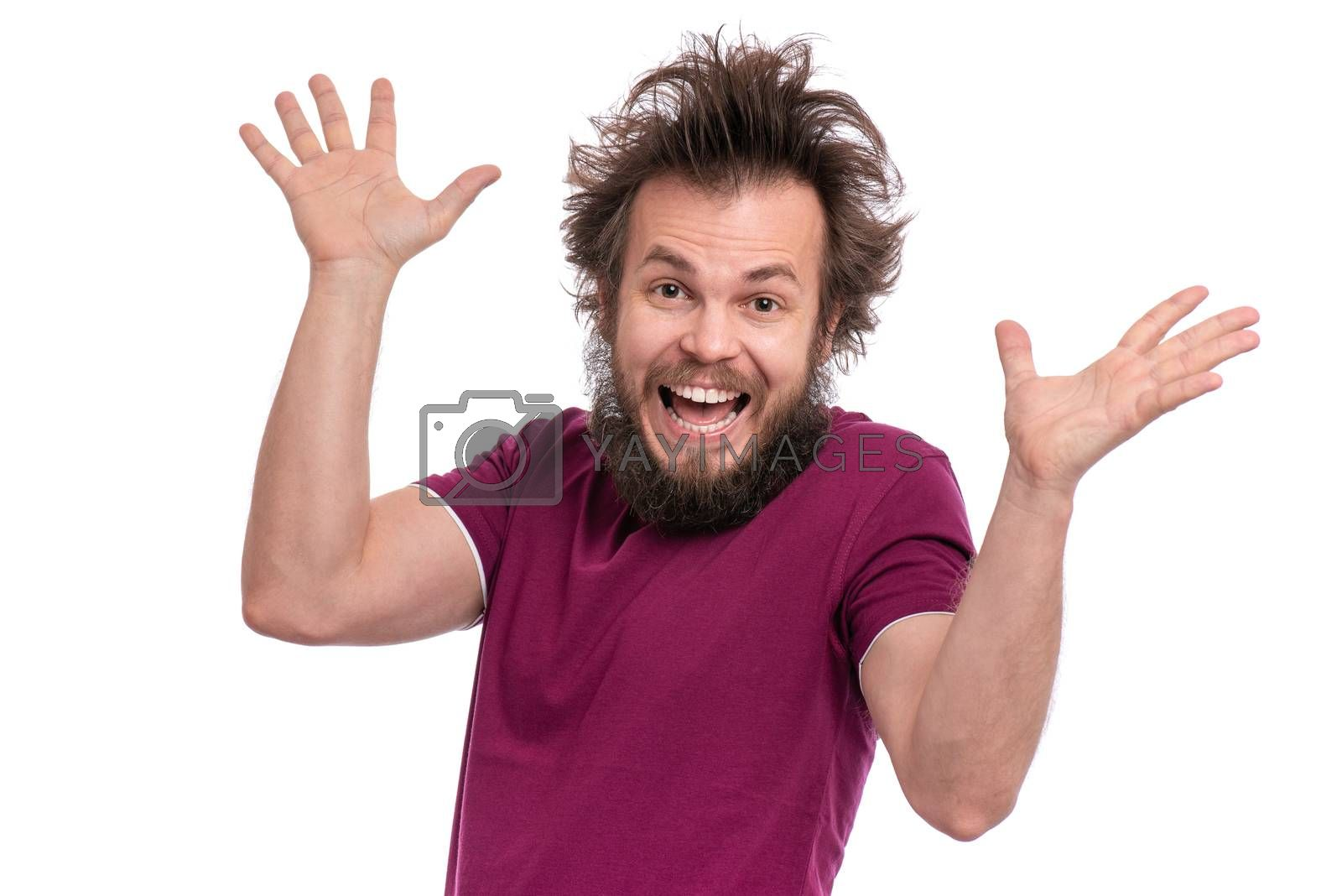 Crazy bearded Man with funny Haircut, isolated on white background. Happy guy screaming and keeping mouth open. Emotions and signs concept.