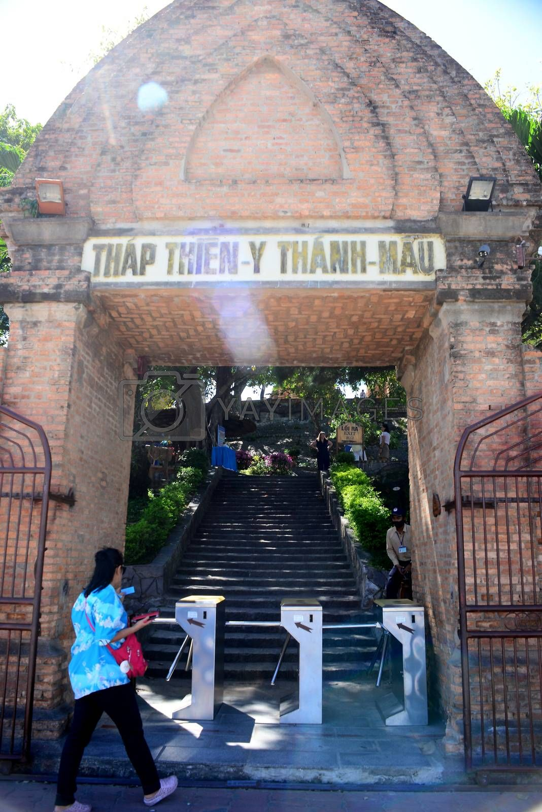 NHA TRANG, VIETNAM – 28 FEBRUARY 2020 : Tourists are entering the passageway door at Ponagar temple relics in nha trang
