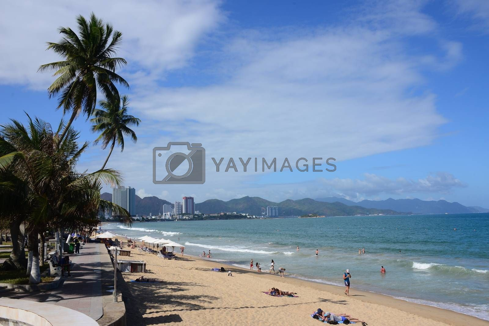NHA TRANG, VIETNAM – 29 FEBRUARY 2020 : Nha Trang beaches are spread out around the beach resort city, offering a myriad of sightseeing and recreational activities for visitors