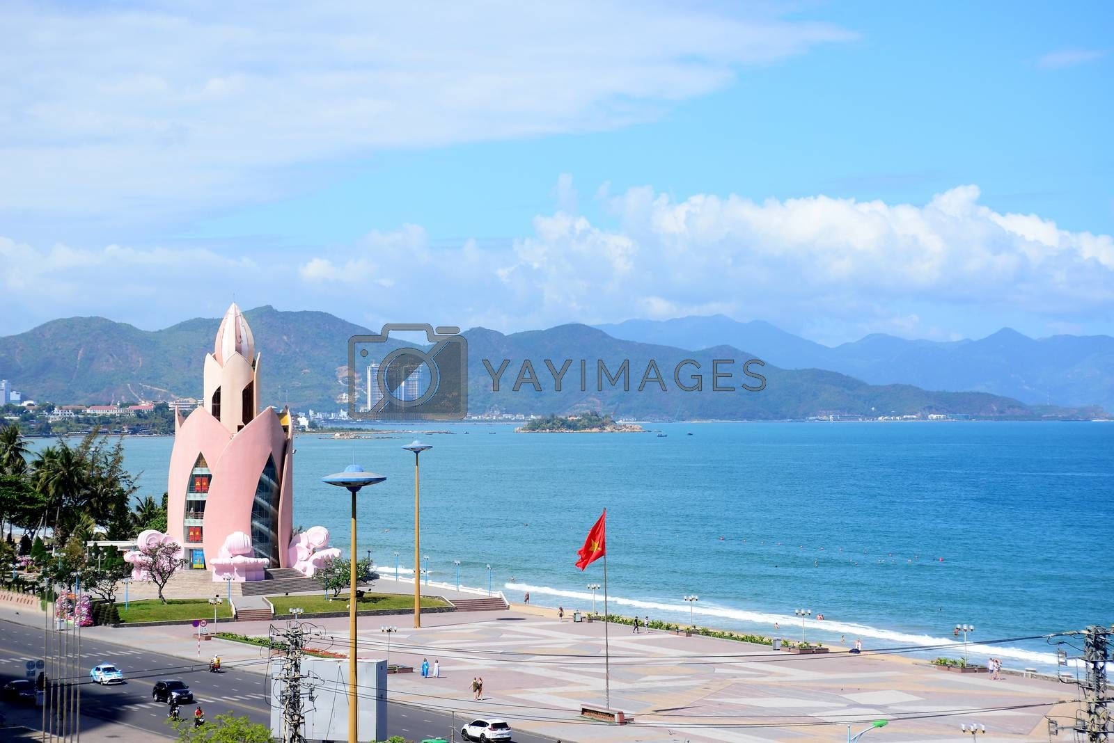 NHA TRANG, VIETNAM – 29 FEBRUARY 2020 : Tram Huong Tower, which is located in the center of the city, is considered as the symbol of Nha Trang city