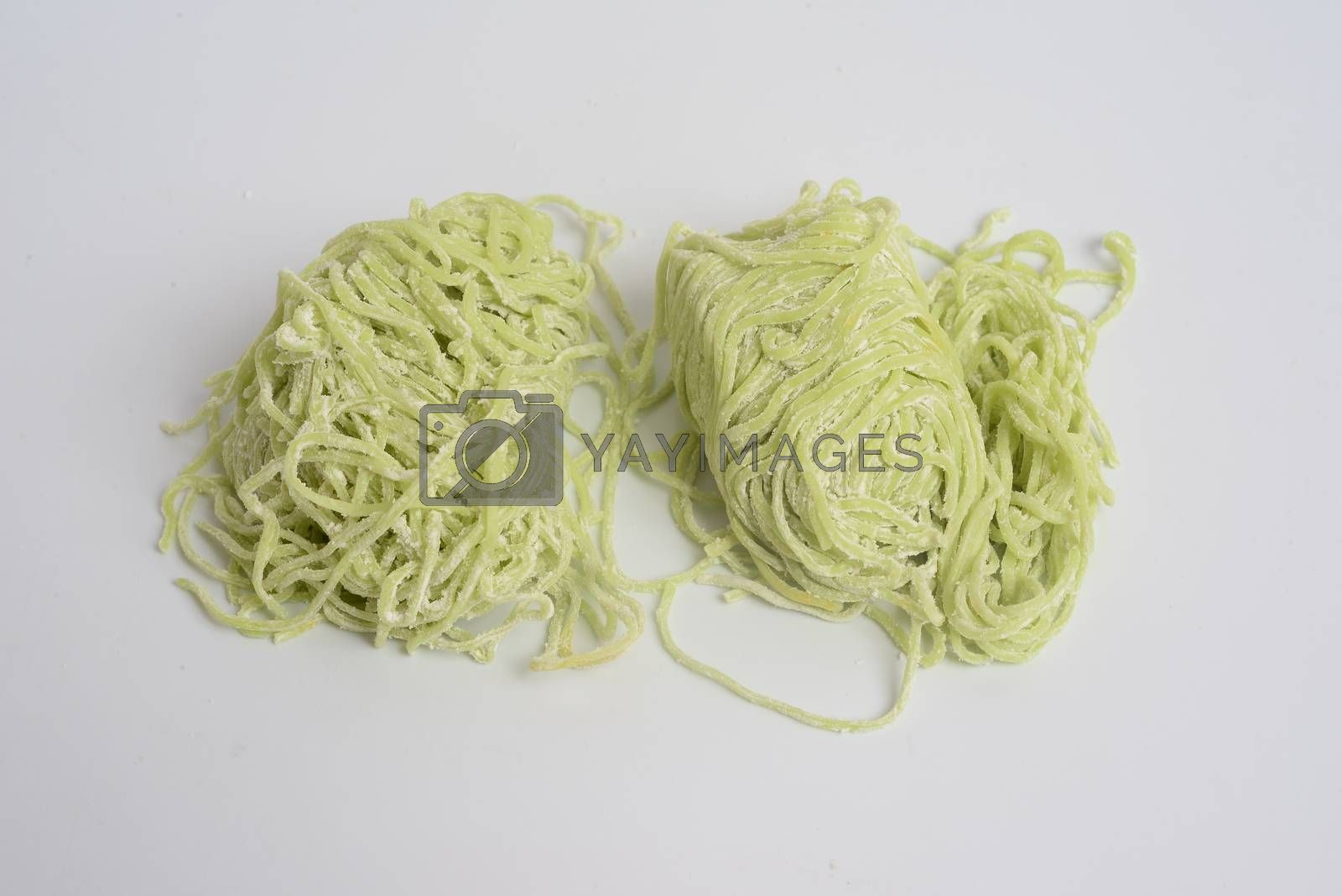 Jade noodle, vegetable noodles, green noodles on white background