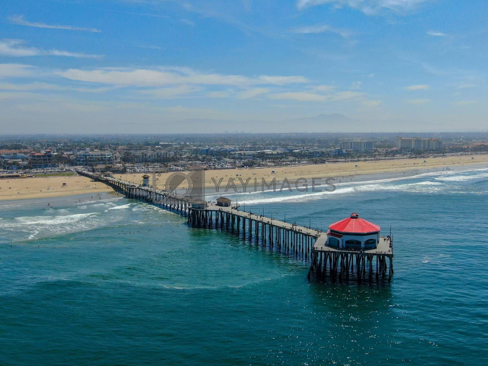 Royalty free image of Aerial view of Huntington Pier, beach and coastline during sunny summer day by Bonandbon