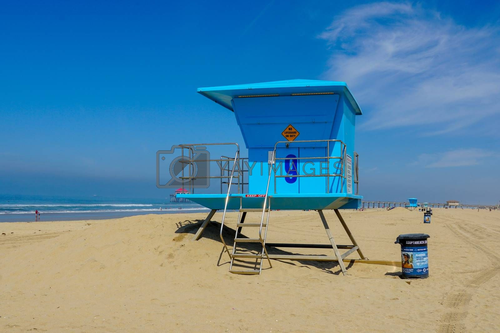 Royalty free image of Lifeguard tower on the Huntington Beach during sunny day. by Bonandbon