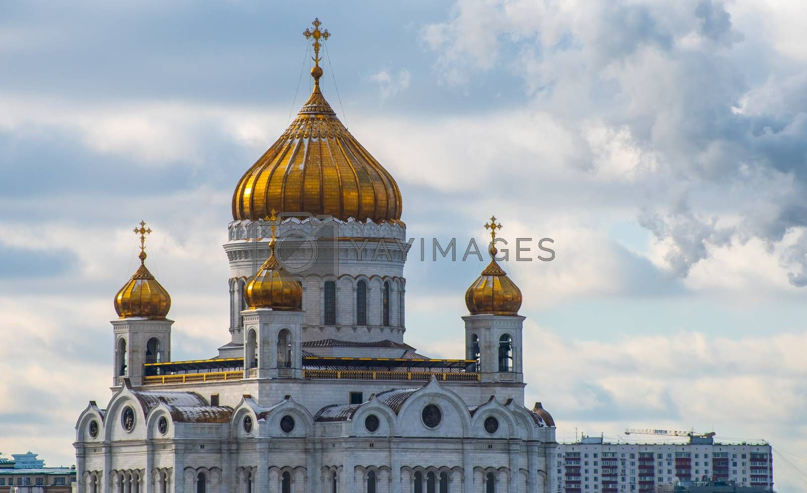 February 5, 2020, Moscow, Russia Cathedral of Christ the Savior in Moscow on a clear frosty day