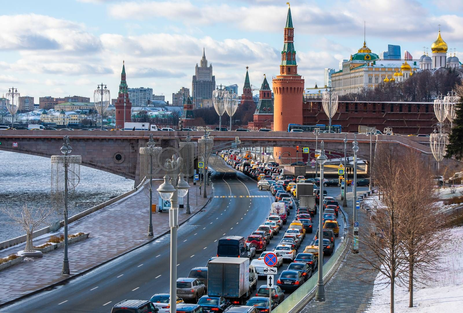 February 5, 2020 Moscow, Russia, Traffic jam on the Kremlin embankment in Moscow.