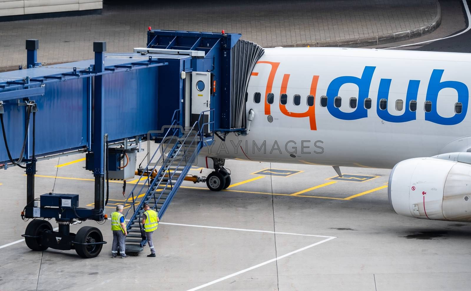 July 2, 2019, Moscow, Russia. Airplane Boeing 737-800 flydubai airline at Vnukovo airport in Moscow.