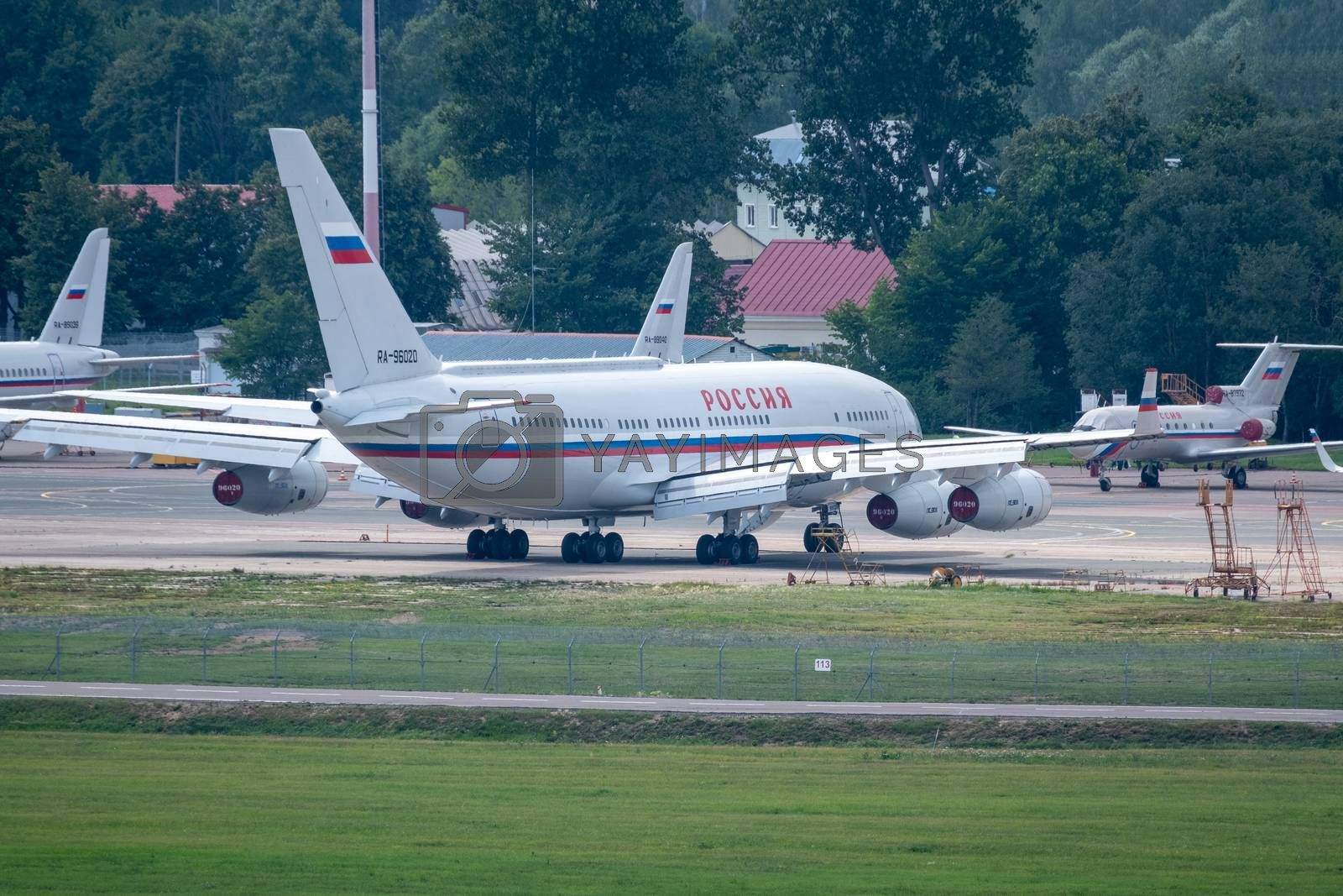 July 2, 2019, Moscow, Russia. Airplane Ilyushin Il-96 Rossiya - Special Flight Detachment at Vnukovo airport in Moscow.