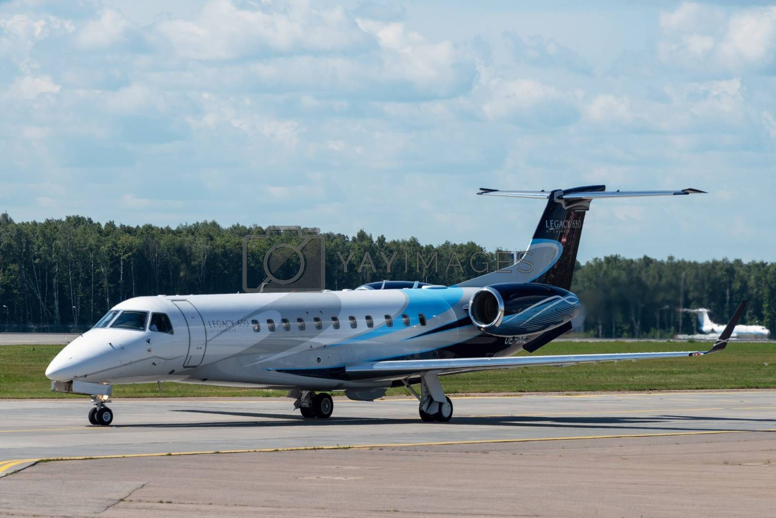 July 2, 2019, Moscow, Russia. Airplane Embraer ERJ-135 Avcon Jet at Vnukovo airport in Moscow.