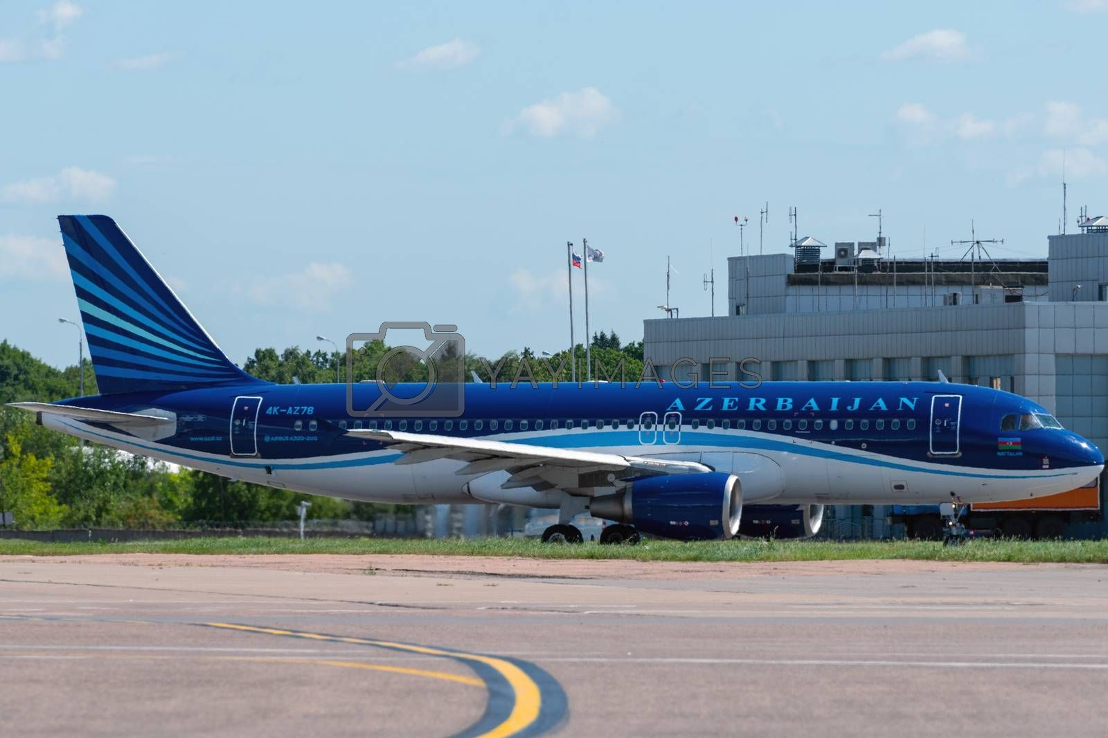 July 2, 2019, Moscow, Russia. Airplane Airbus A320-200 AZAL Azerbaijan Airlines at Vnukovo airport in Moscow.