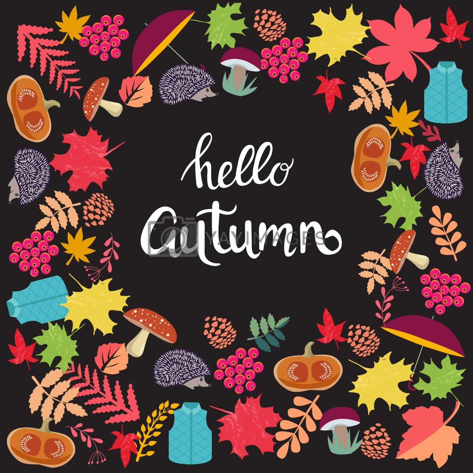 Cute background with Autumn Season elements and inscription hello autumn on dark background.