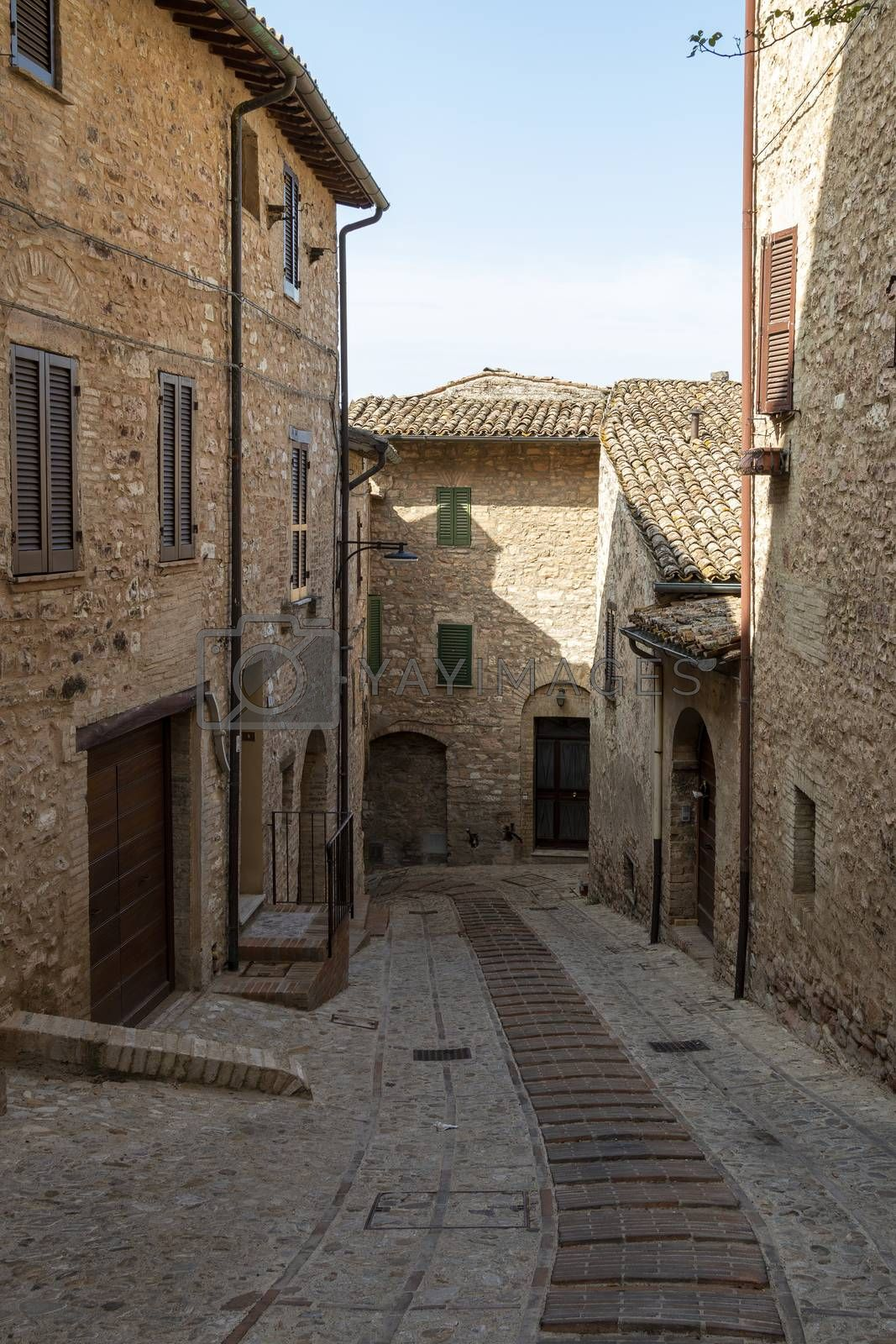 Detail of a typical door of the ancient village of Spello, Perugia - Italy