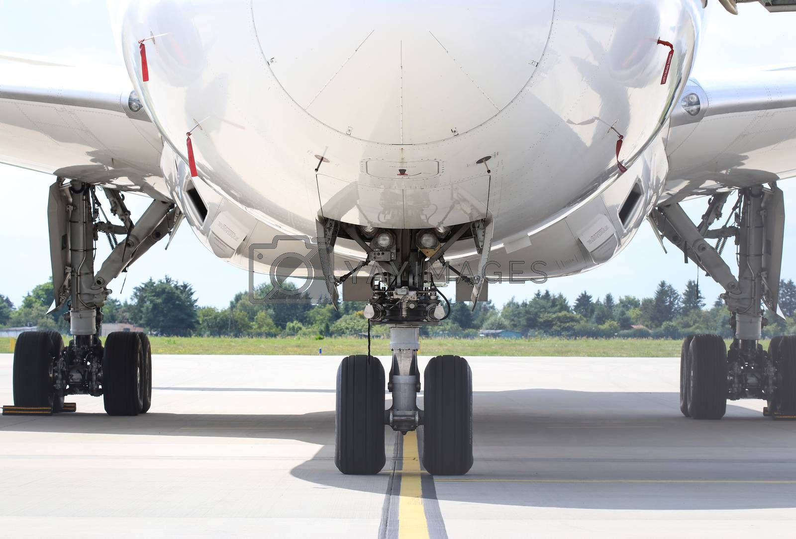 Chassis with headlights of Boeing 787-8 Dreamliner, front view