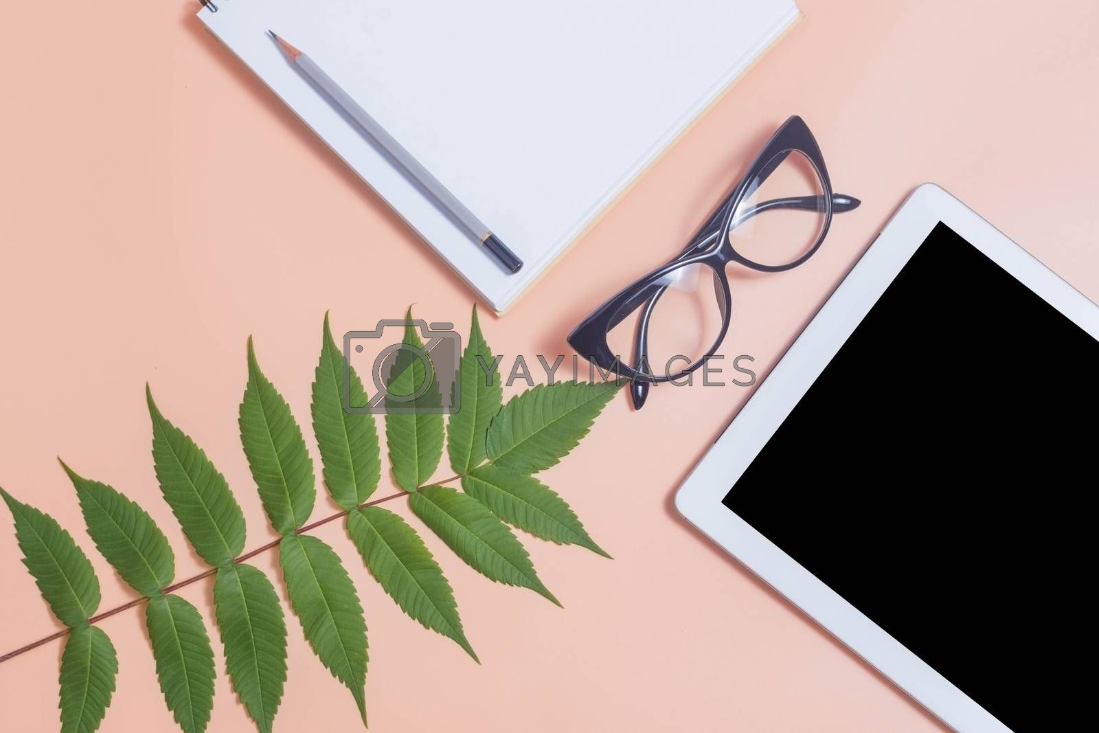Tablet mockup on beige work desk surrounded with glasses, notepad, plant and pencil. Free space beside for text. Flat lay composition.