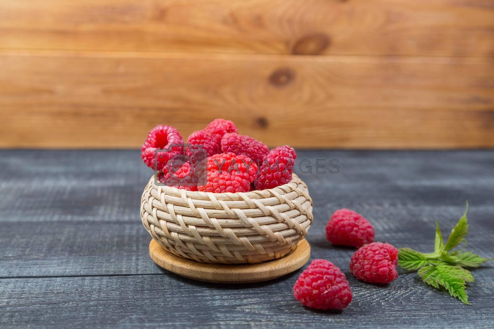 Raspberry. Health, summer. still life on wooden background