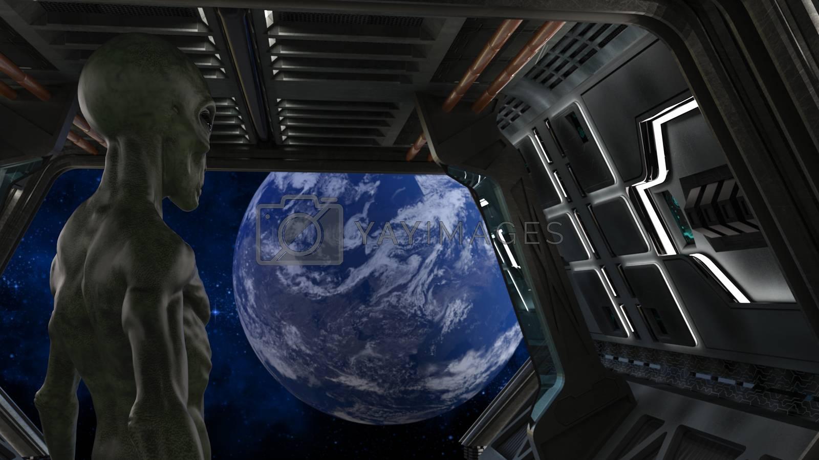 Fantasy alien in a spaceship looking earth - 3d rendering