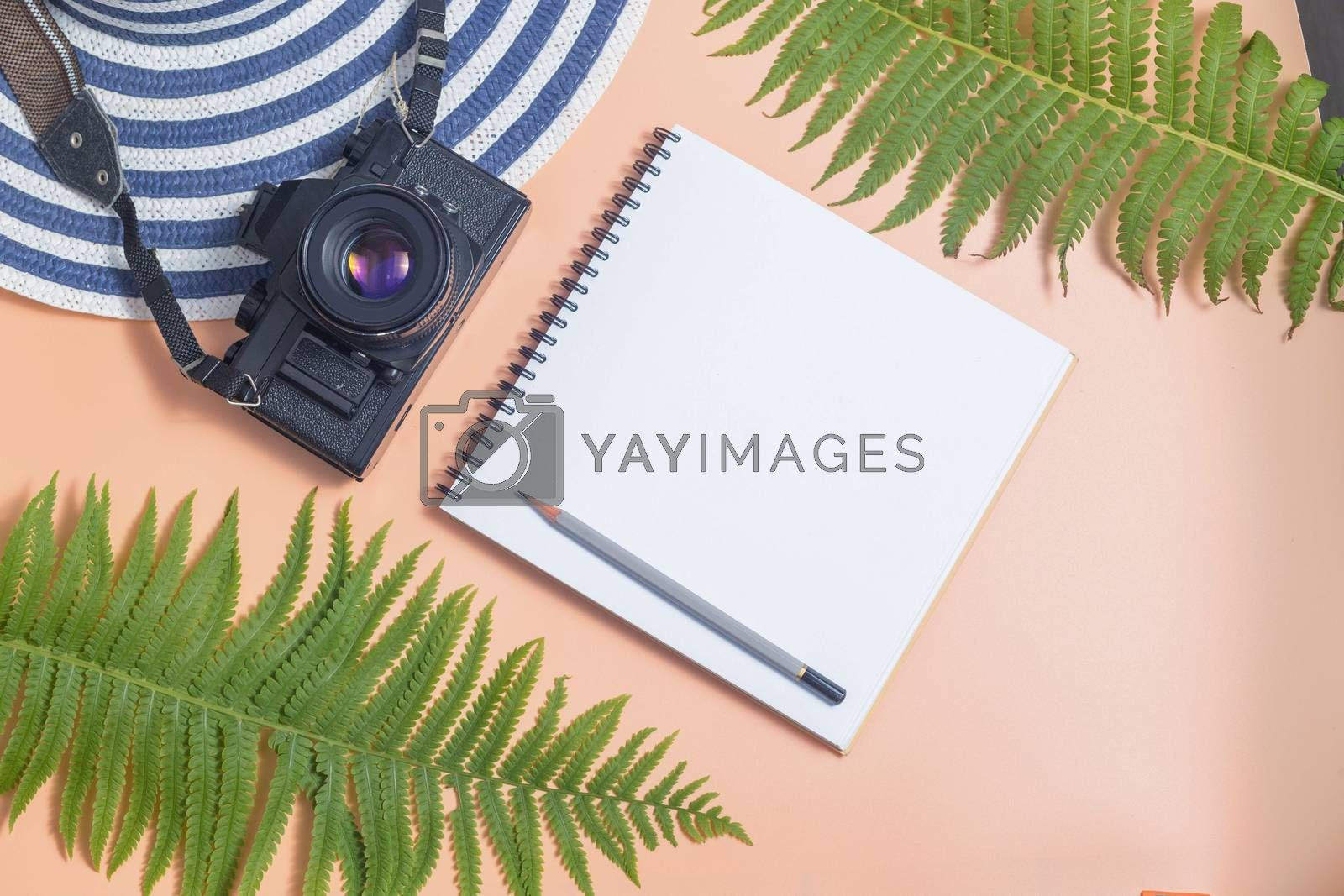 Retro camera with travel accessories and items on beige background with copy space, Travel concept, planning vocation