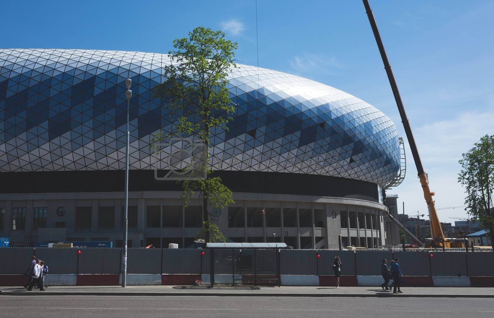 May 4, 2018 Moscow, Russia construction  multi-purpose stadium VTB Arena on the site of the old Dynamo stadium in Moscow.