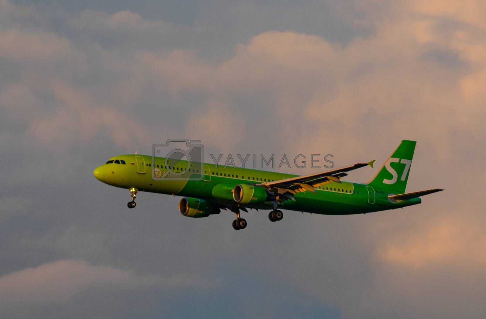 8 JULY 2018 Russia, Moscow. The aircraft Airbus A321 S7 Airlines is landing at the Domodedovo airport