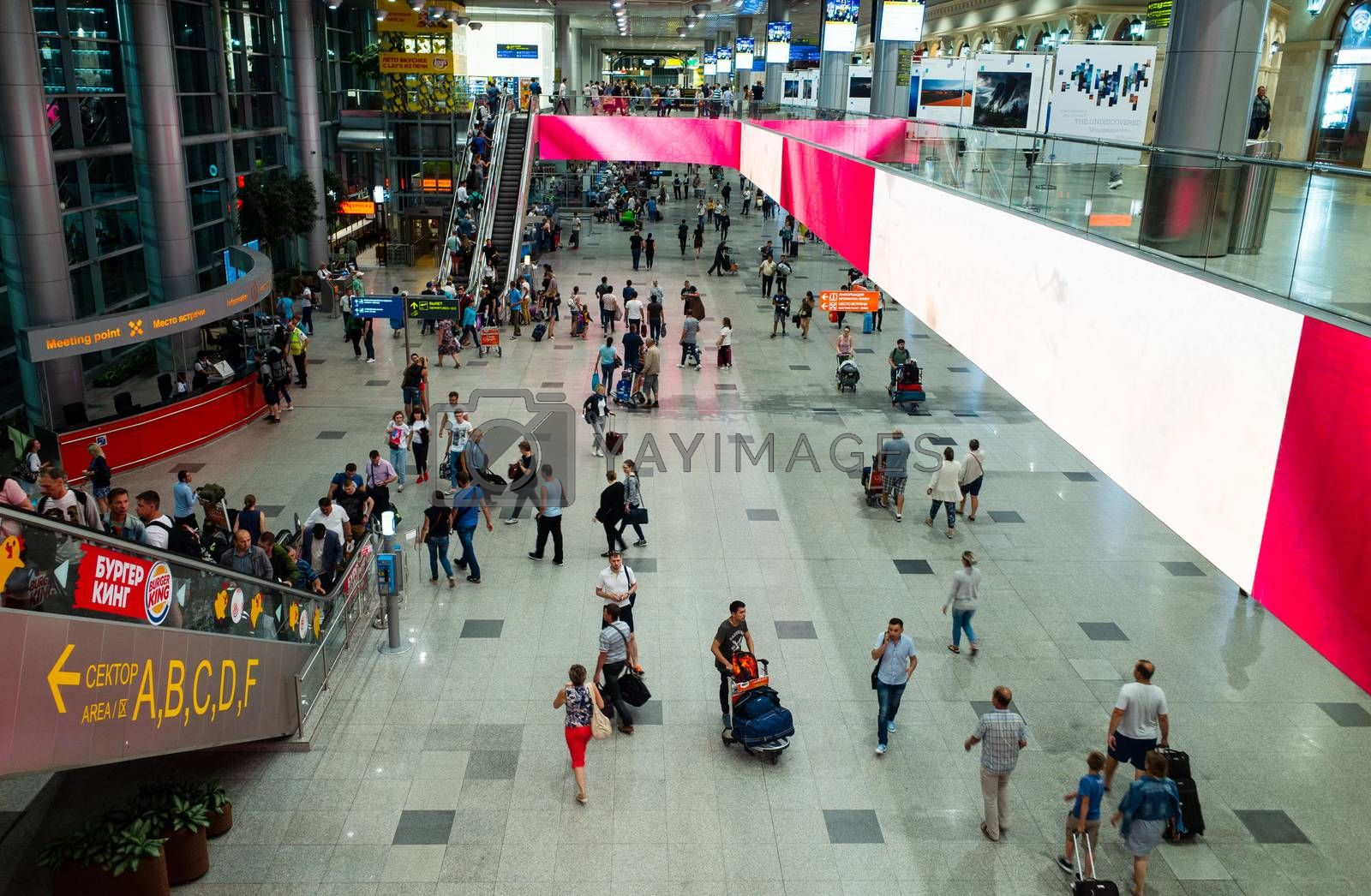 29 July 2018 Moscow region, Russia. Passengers at Domodedovo airport in Moscow.