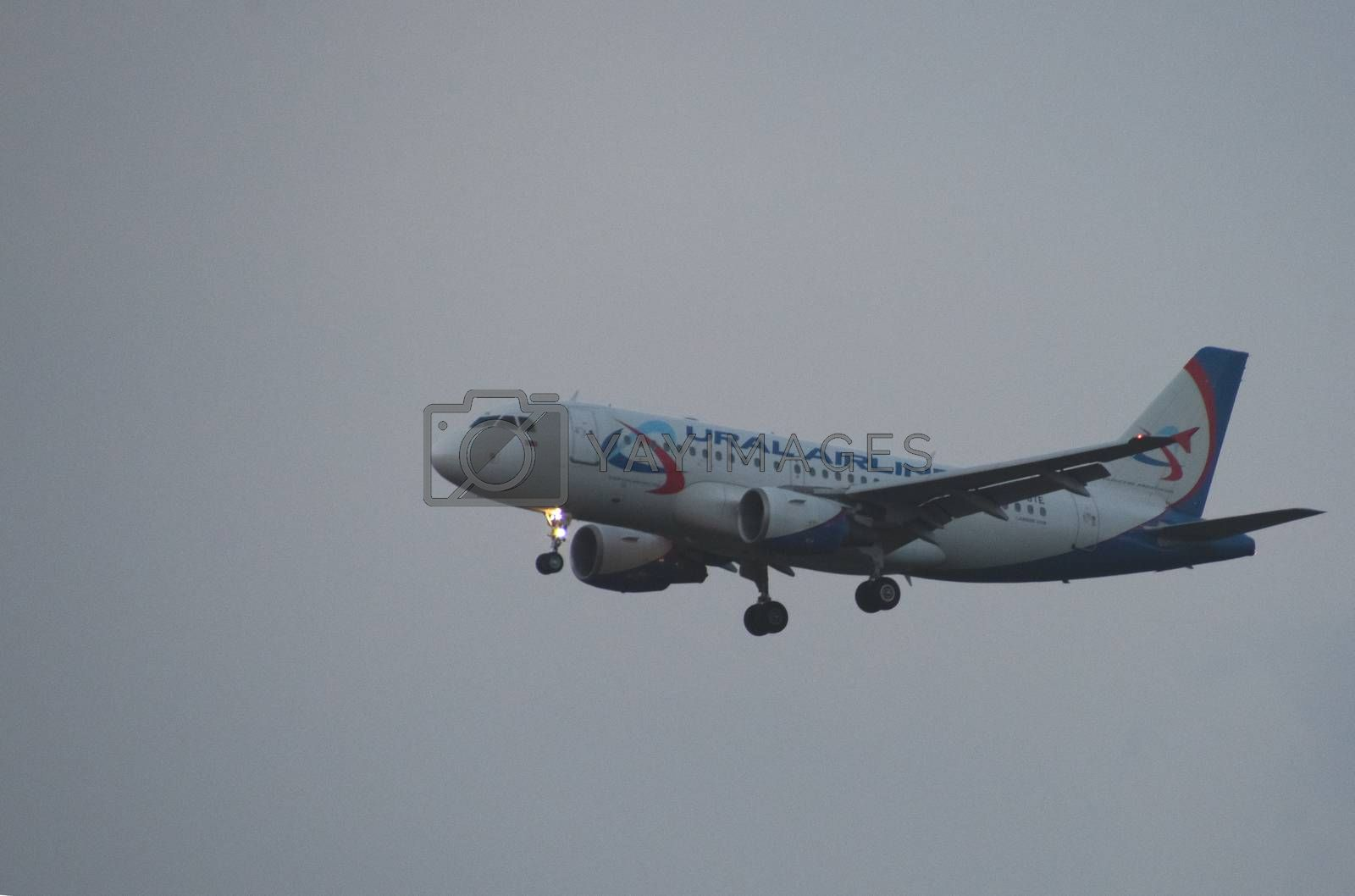 8 JULY 2018 Russia, Moscow. The aircraft Airbus A319 Ural Airlines is landing at the Domodedovo airport.
