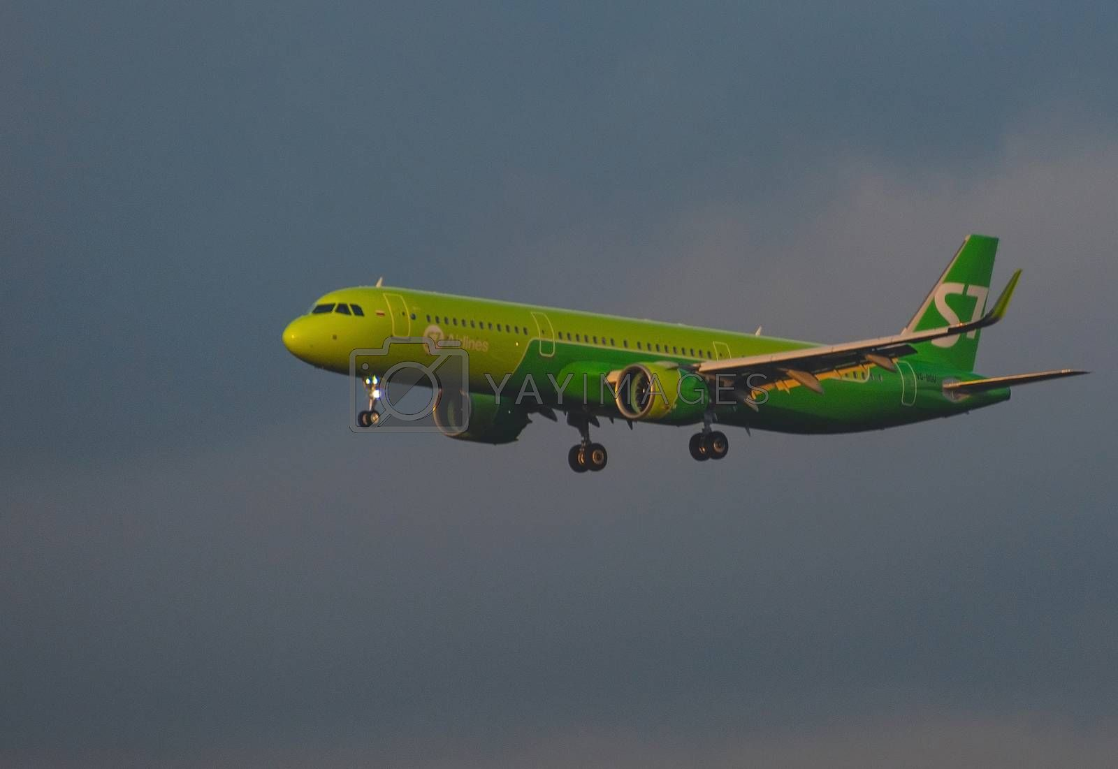 8 JULY 2018 Russia, Moscow. The aircraft Airbus A321neo S7 Airlines is landing at the Domodedovo airport.