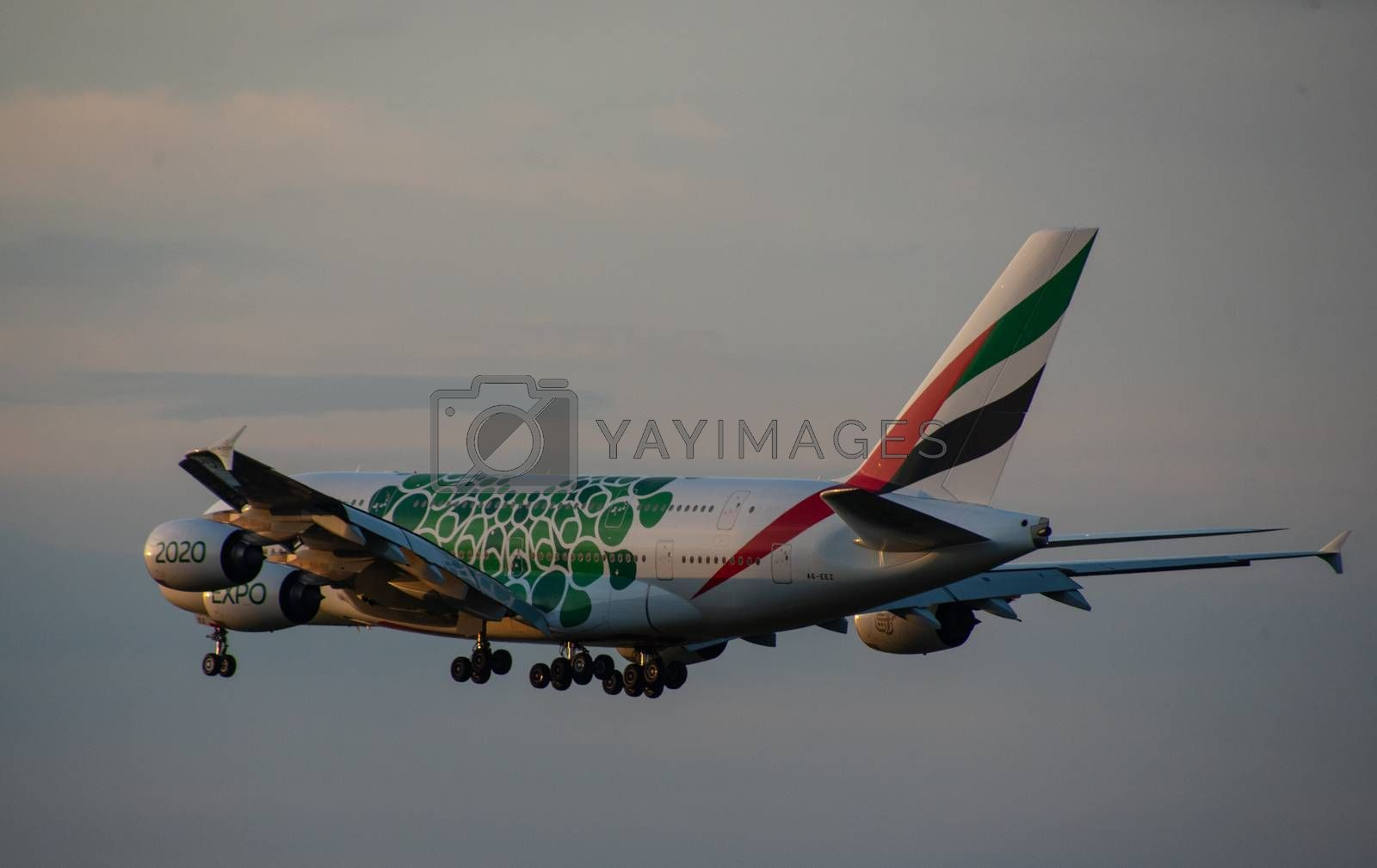 8 JULY 2018 Russia, Moscow. The aircraft Airbus A380 Emirates Airlines with the symbolism of the world exhibition EXPO 2020 in Dubai is landing at the Domodedovo airport.