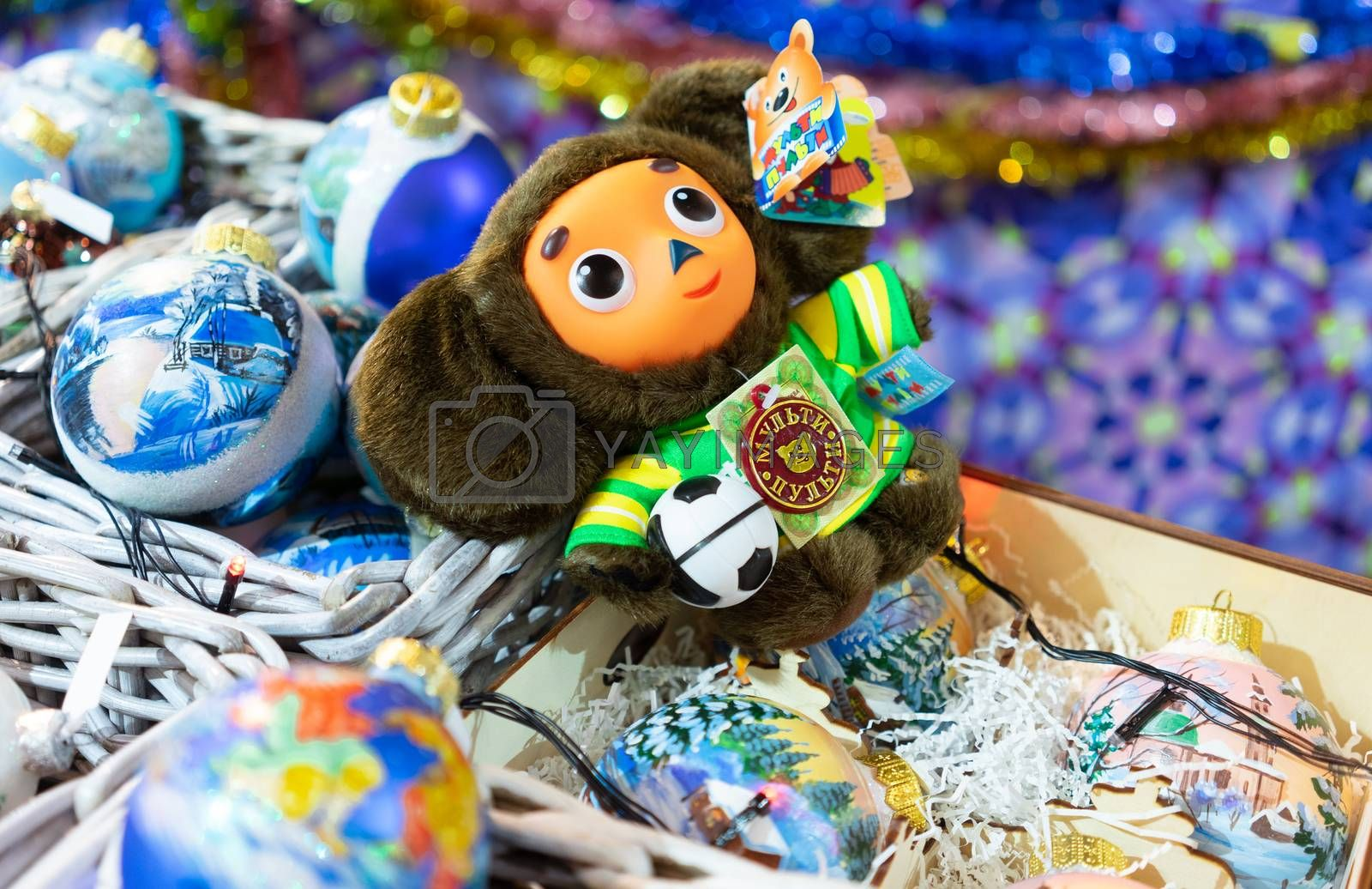 23 November 2018, Moscow, Russia. Christmas tree toy Cheburashka in the shopping center GUM on red square in Moscow.