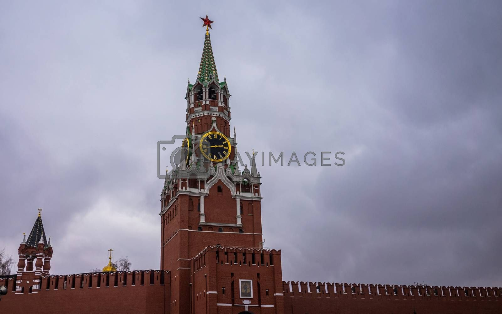 27 November 2018, Moscow, Russia. Spasskaya tower of Moscow Kremlin