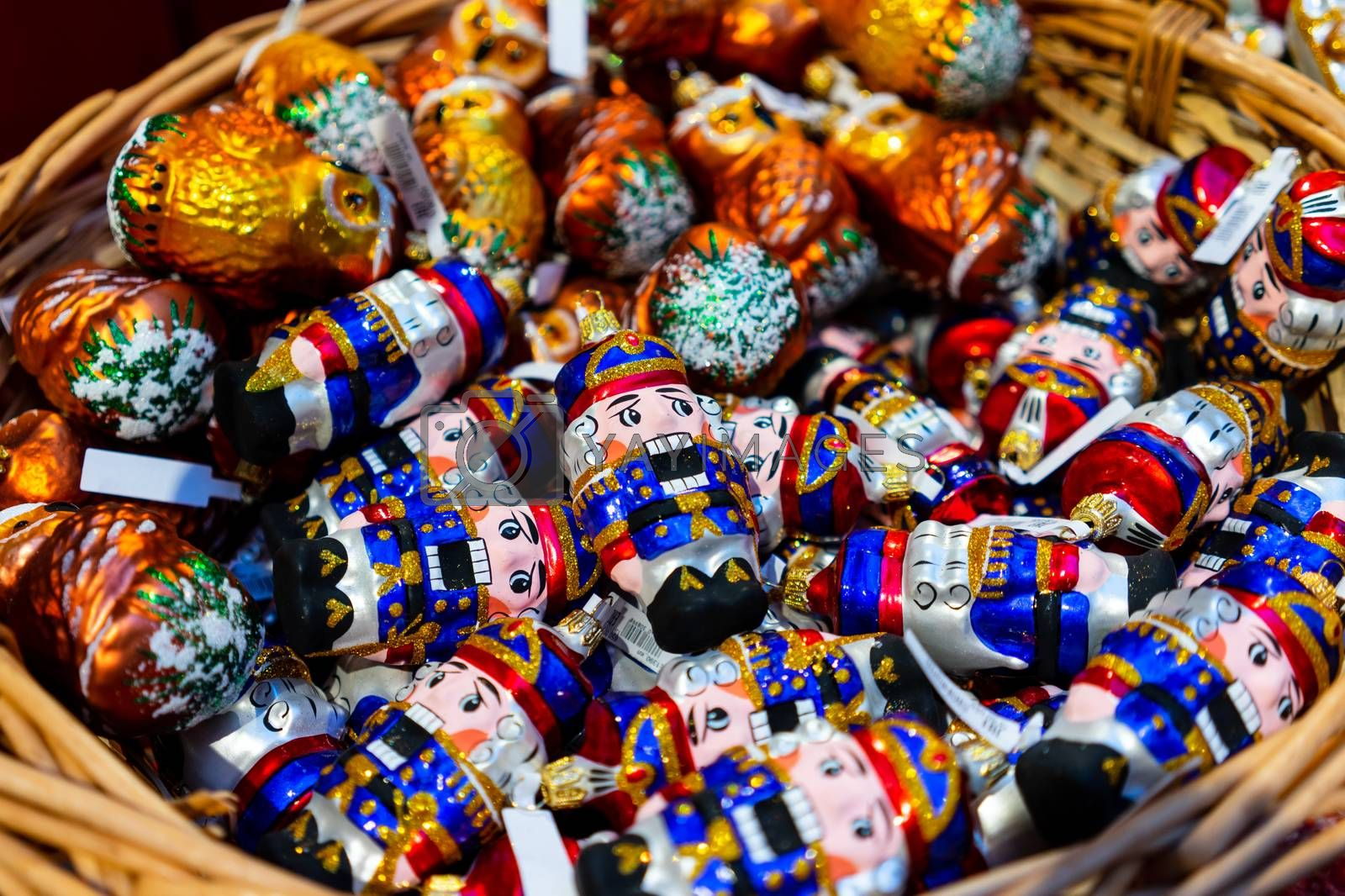 27 November 2018, Moscow, Russia. Christmas tree toys in the shopping center GUM on red square in Moscow.