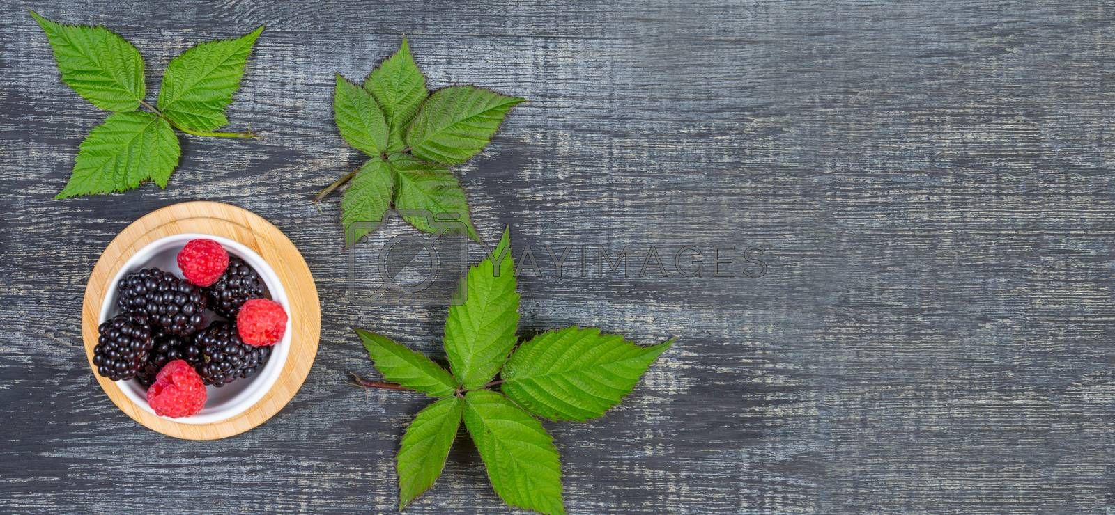 ripe blackberry with leaves on a wooden cutting board in a white ceramic bowl on dark blue wooden background. top view, banner
