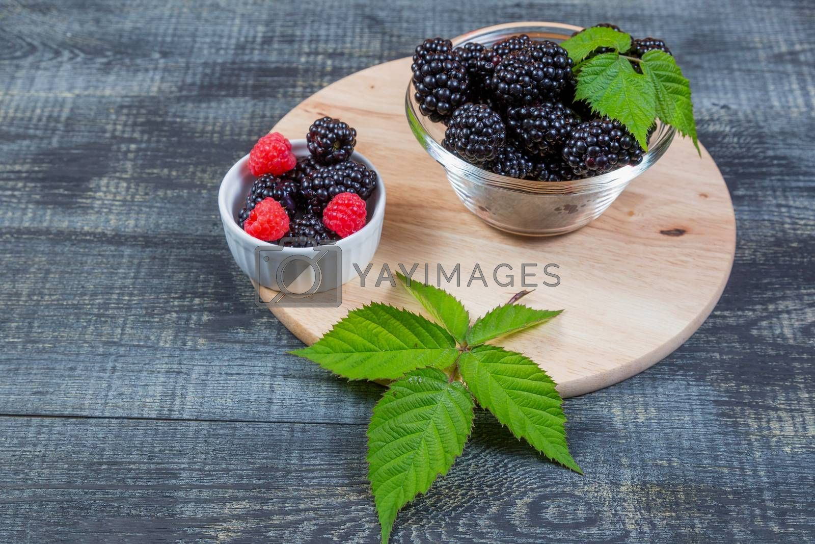 ripe blackberry with leaves on a wooden cutting board in a glass bowl on dark blue wooden background.