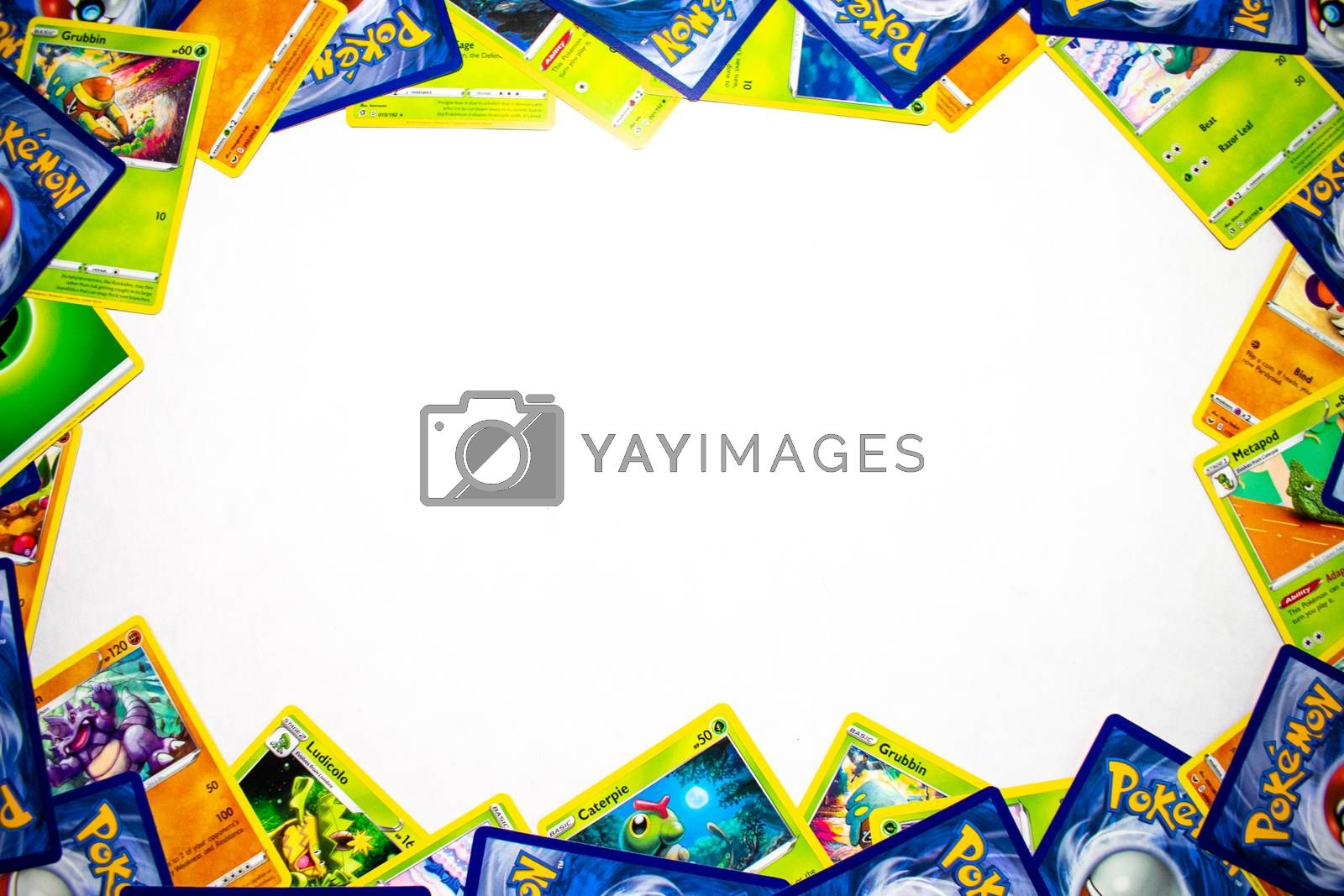 ELKINS PARK, PENNSYLVANIA-MAY 11,2020 : Pokemon Cards Bordering a White Background. Young Children in Elkins Park use these cards to do battle.